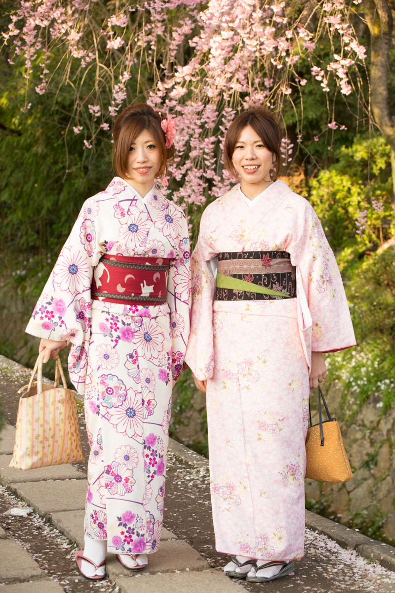 In traditional dress for Hanami