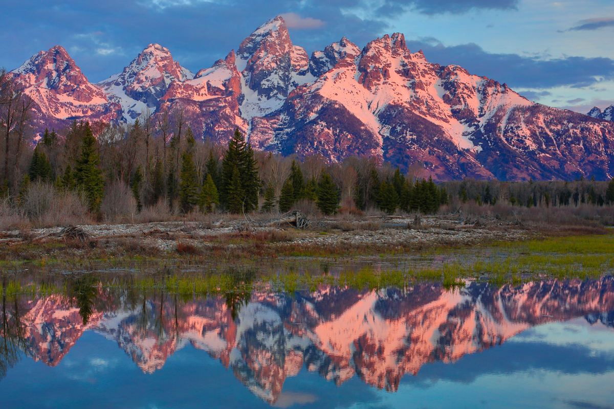 Classic View of the Tetons from Schwabacher Landing, Grand Tetons
