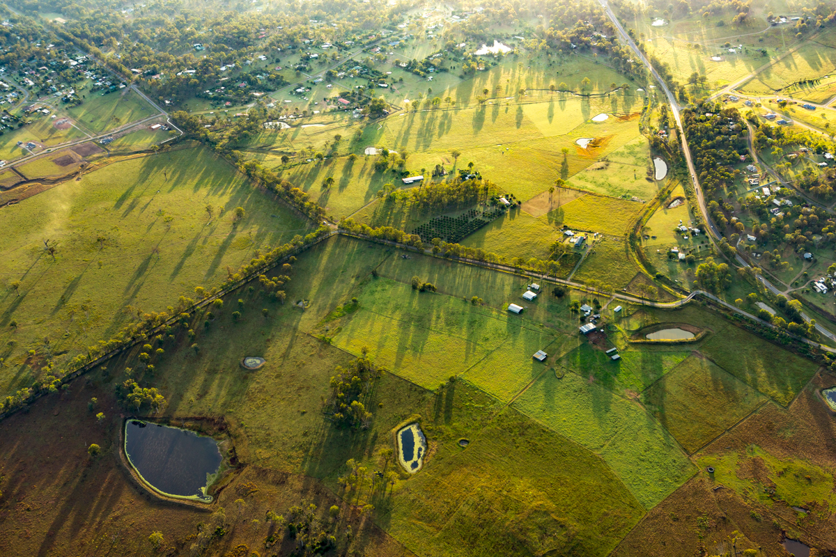Aerial view of farms at the Gold Coast
