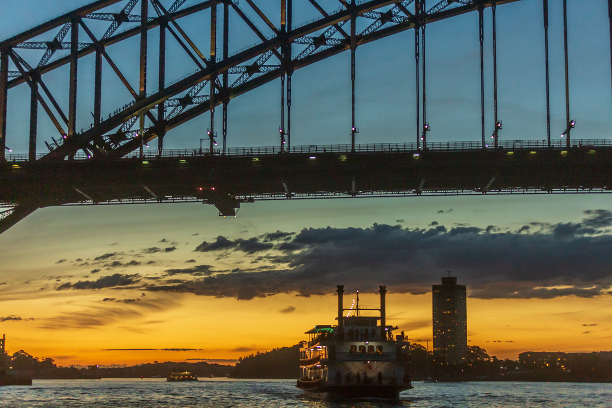 Ferry and Harbour Bridge at Sunset, Sydney Harbour