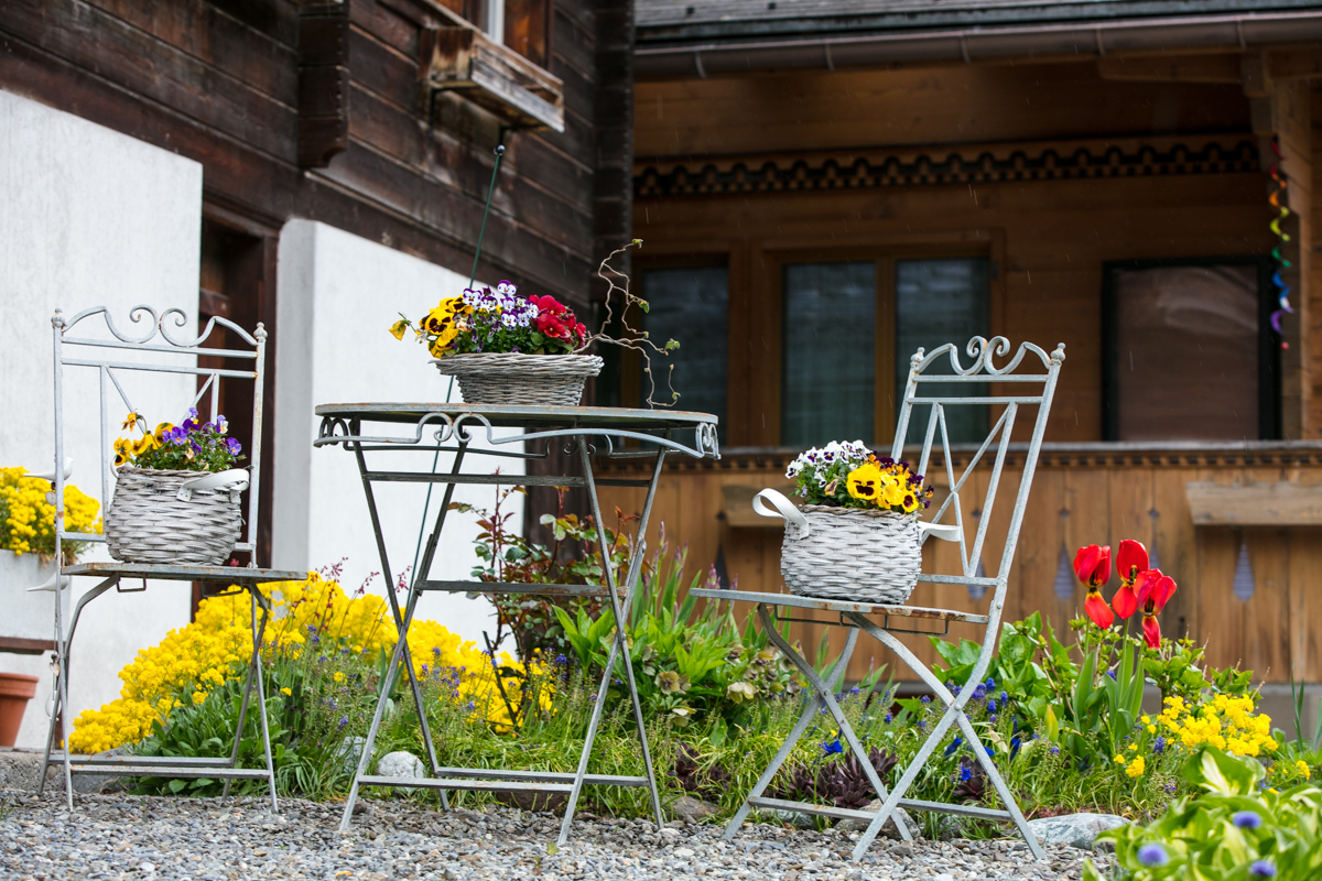 Inviting arrangement go Spring flowers in front of a cafe,Lauterbrunnen