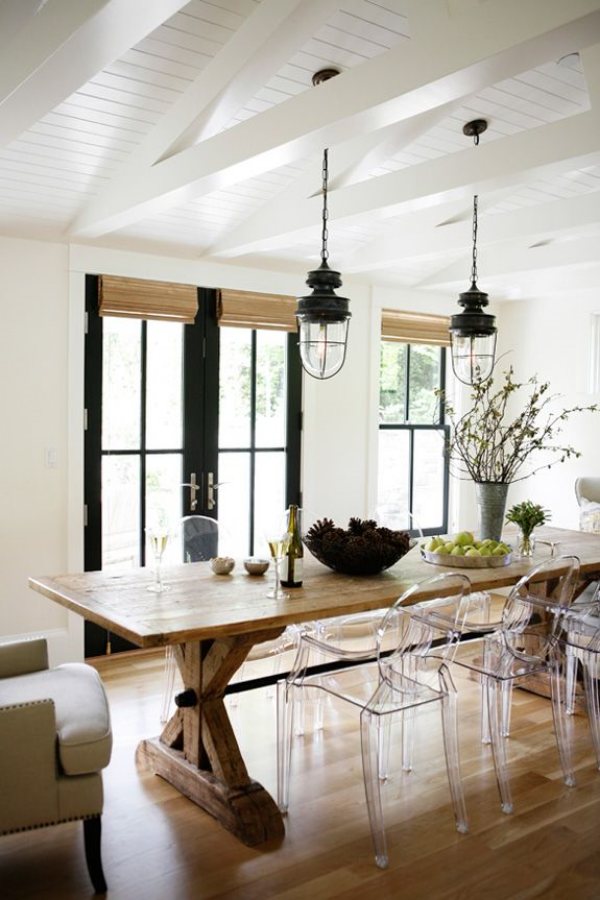 Dining Room with trestle table and lucite chairs