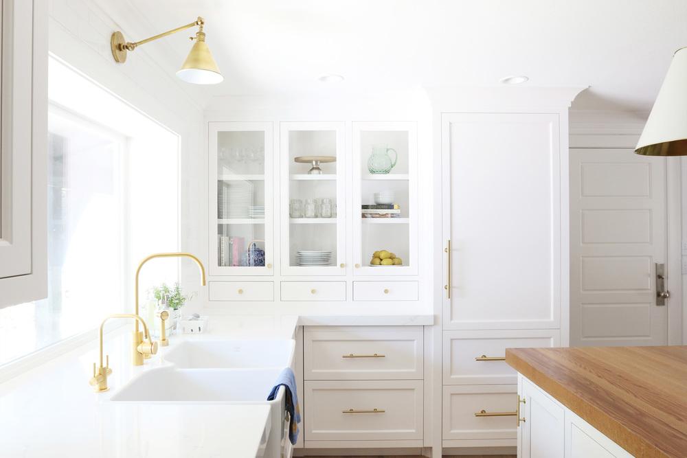 studio mcgee white and gold kitchen