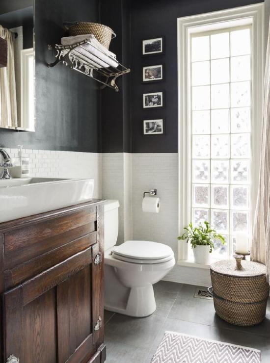 black painted walls in bathroom