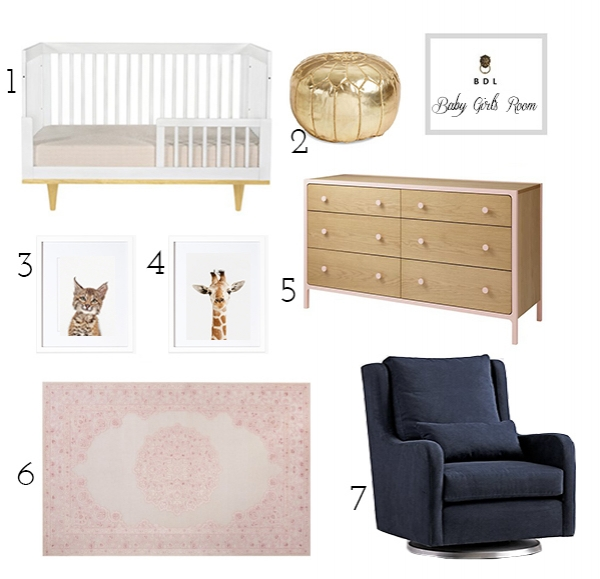 girl's nursery with pink rug, white crib and navy rocker