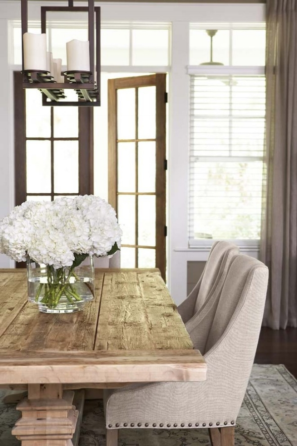 Trestle Table with neutral chairs