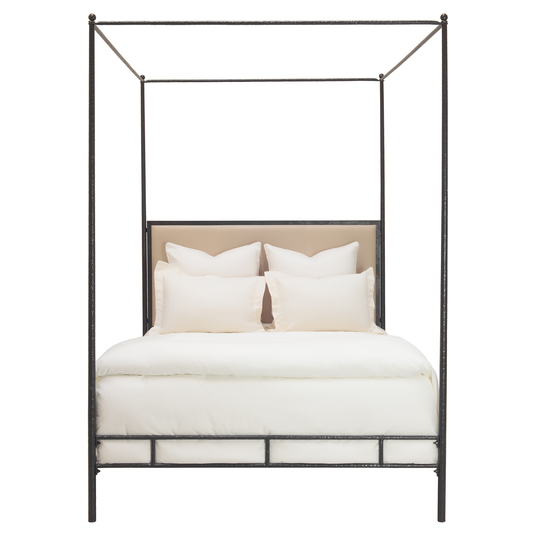 bronze leather canopy bed - Sold by Kathy Kuo Home