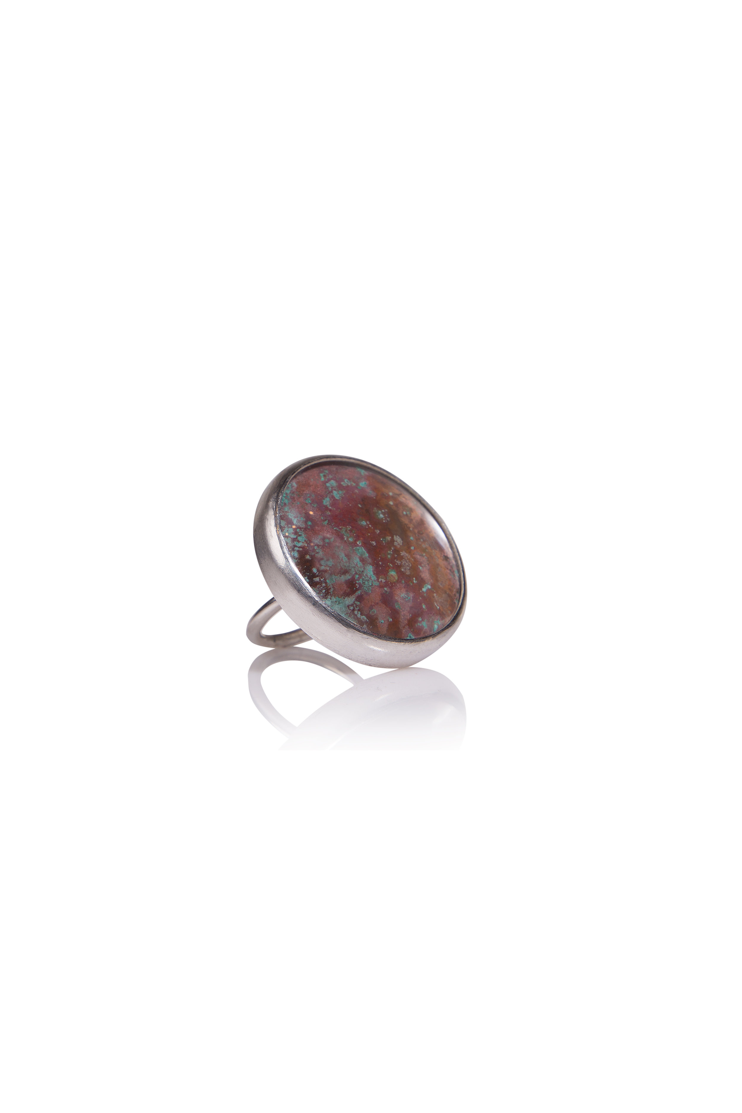 Large Classic Copper Cocktail Ring  Sterling silver with copper patina set under glass