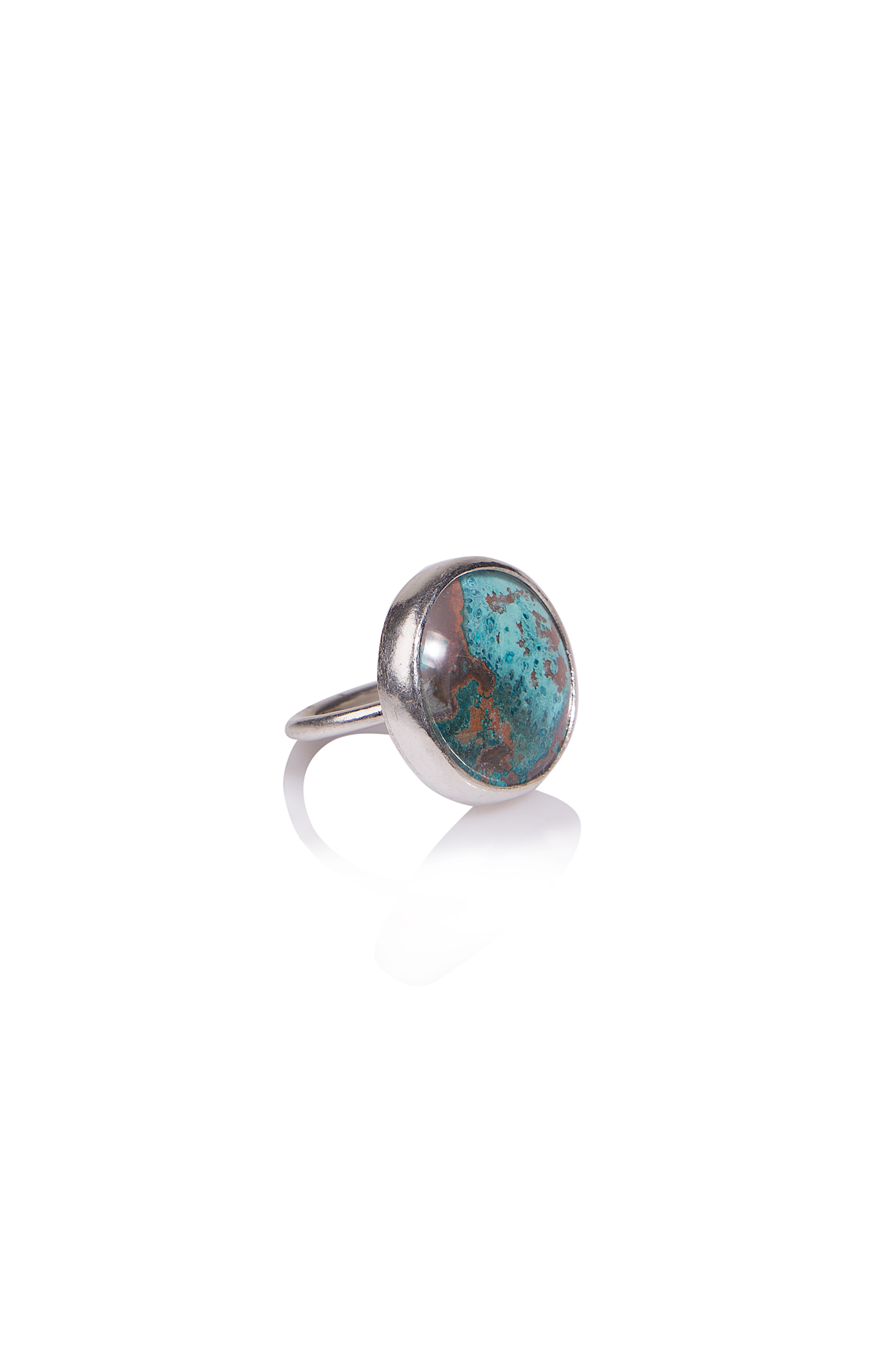 Medium Classic Copper Cocktail Ring  Sterling silver with copper patina set under glass