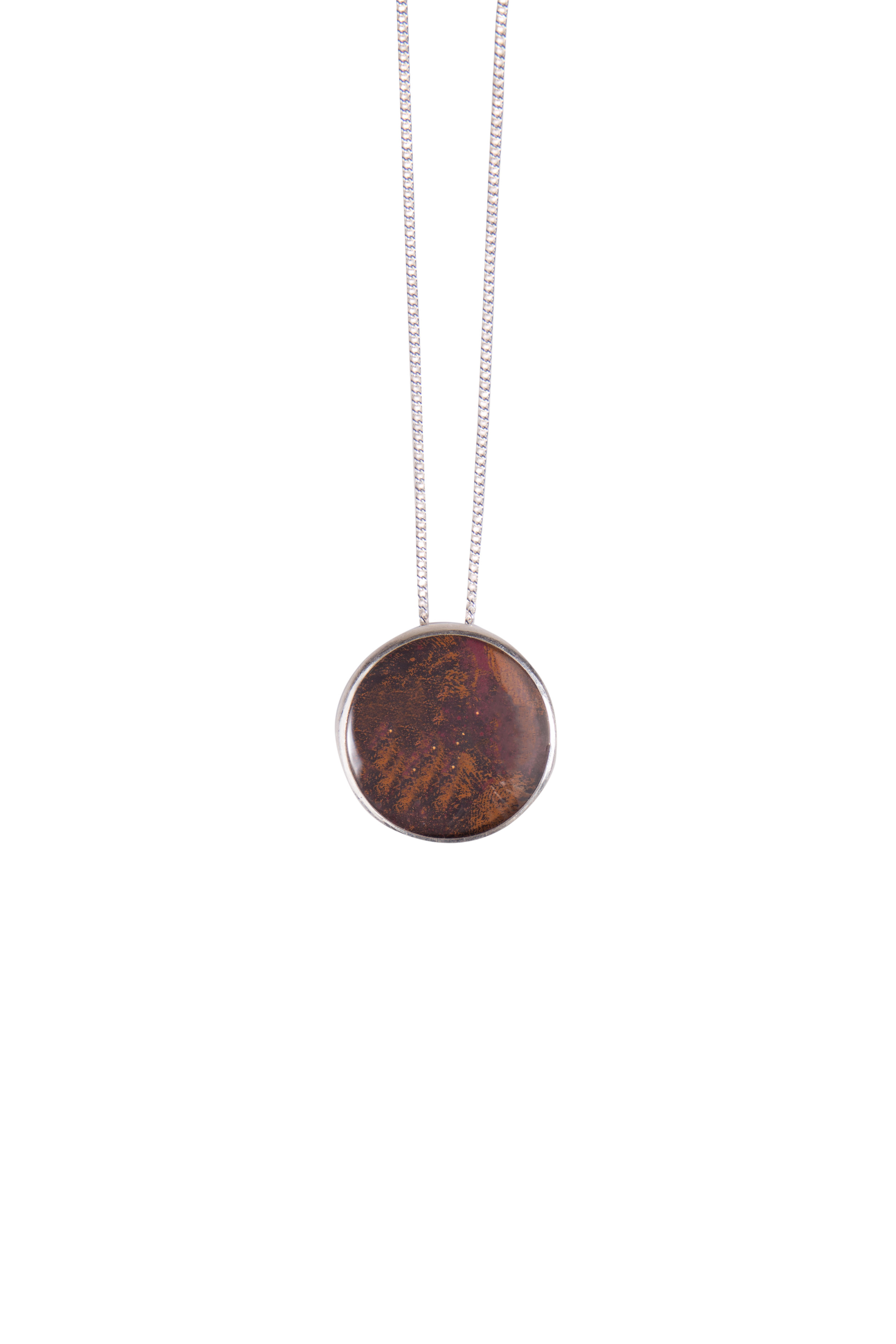 """Large Classic Copper Long Pendant  Sterling silver with oxidised copper set under glass on a 30"""" chain"""