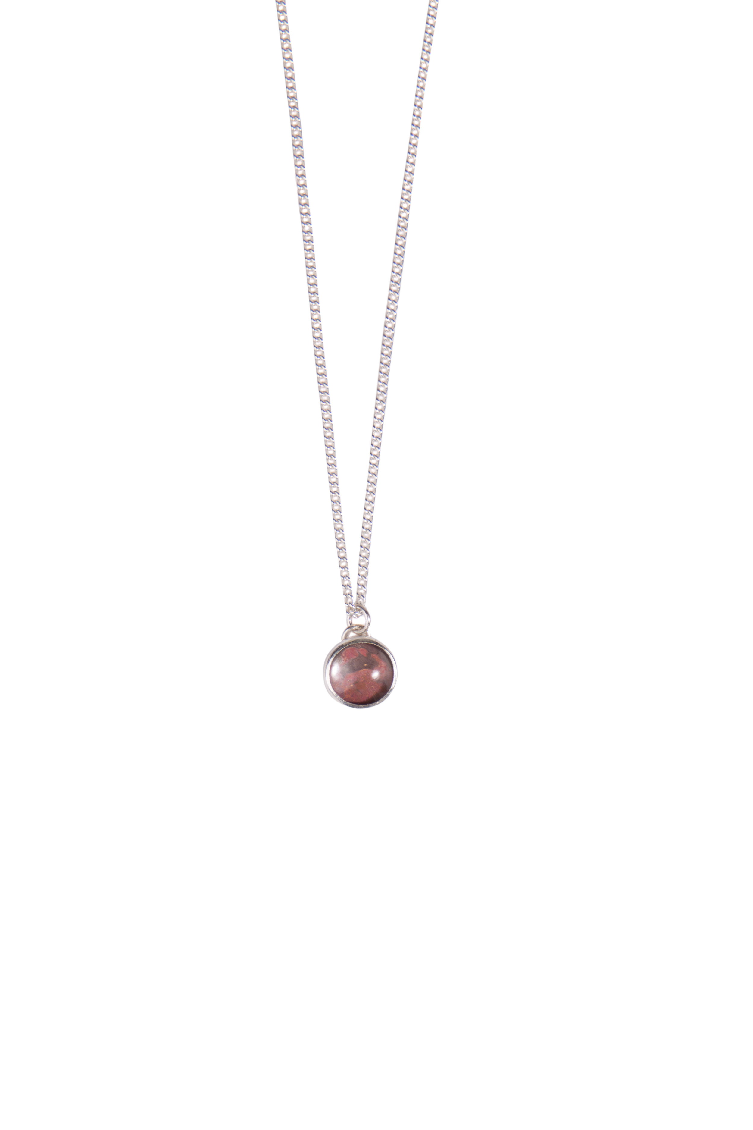 """Small Classic Copper Pendant  Sterling silver with oxidised copper set under glass on an 18"""" chain"""