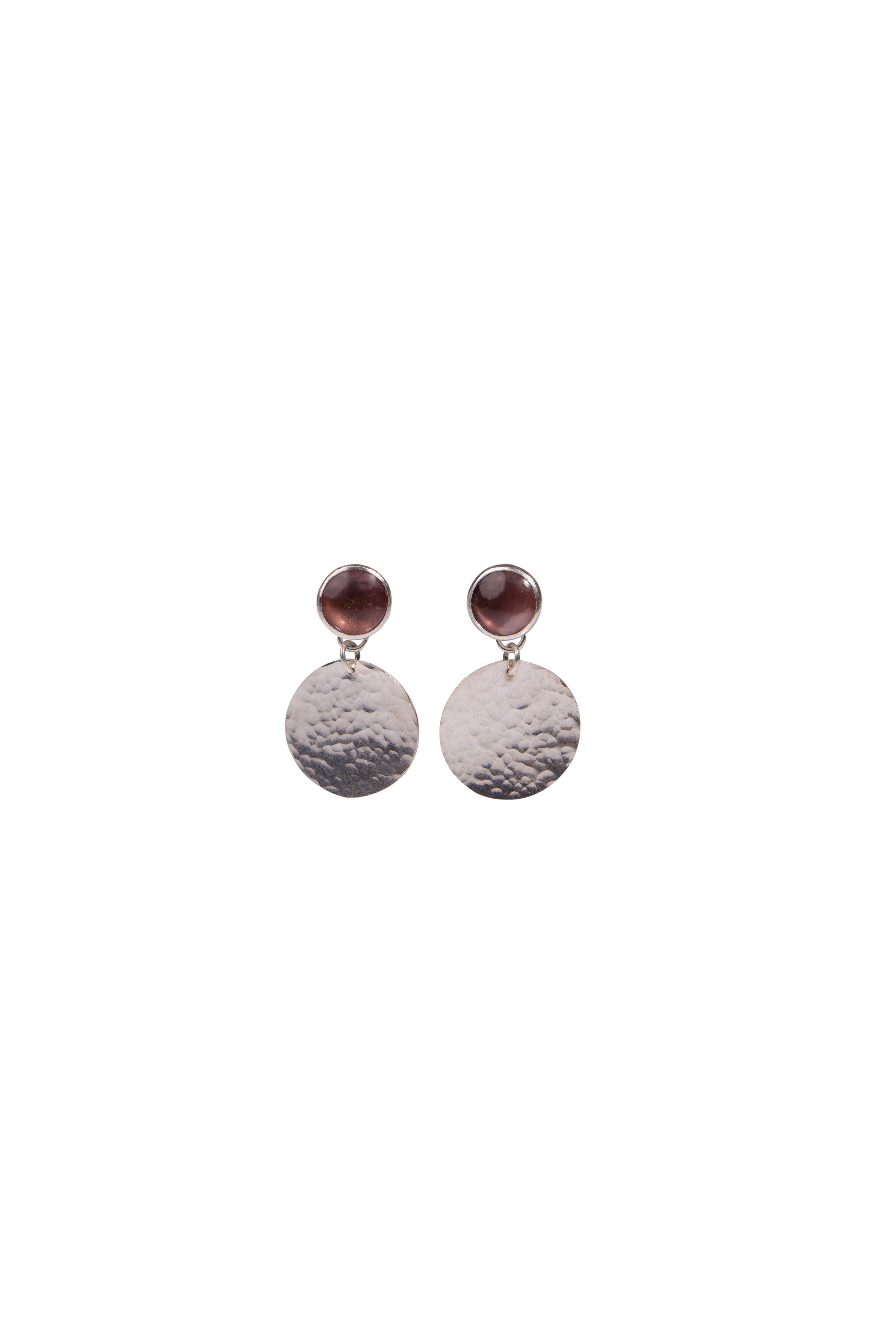 Classic Copper Studs with Small Silver Disks  Sterling silver with oxidised copper set under glass with textured silver disk drops