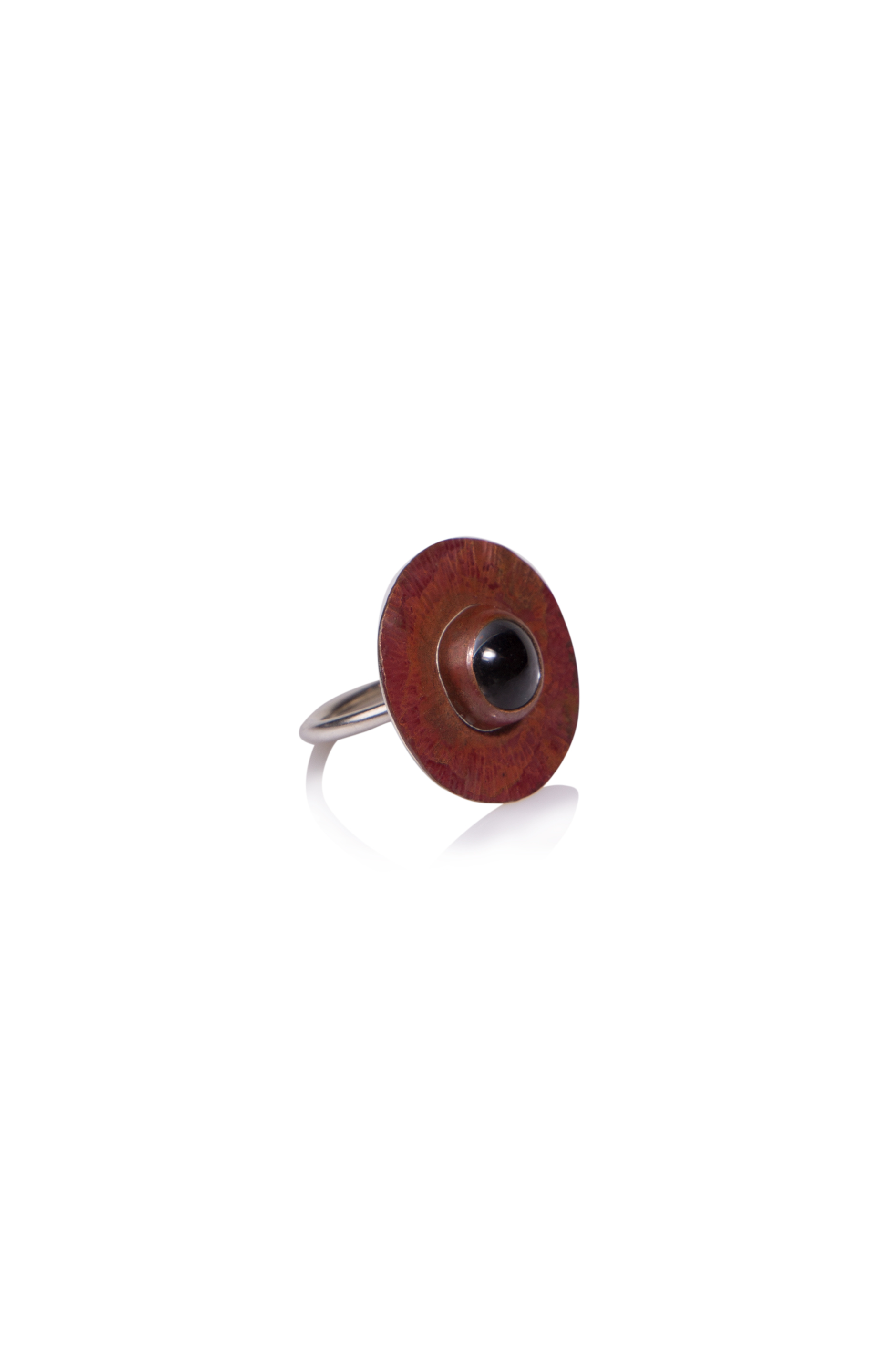 Copper 'Eye' Ring  Oxidised copper with glass stone setting riveted onto sterling silver