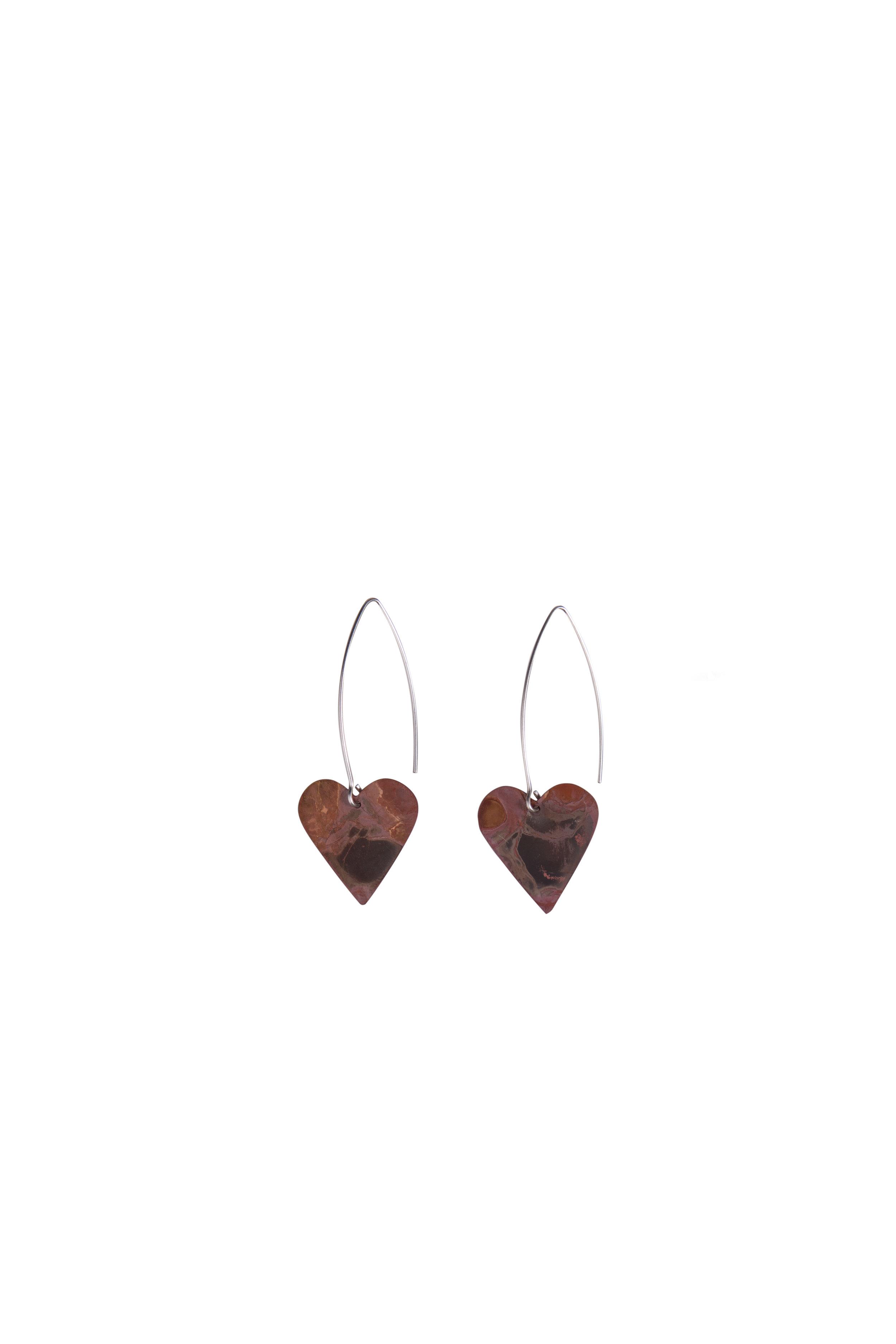 Classic Copper Heart Earrings  Oxidised copper on a long sterling silver hook