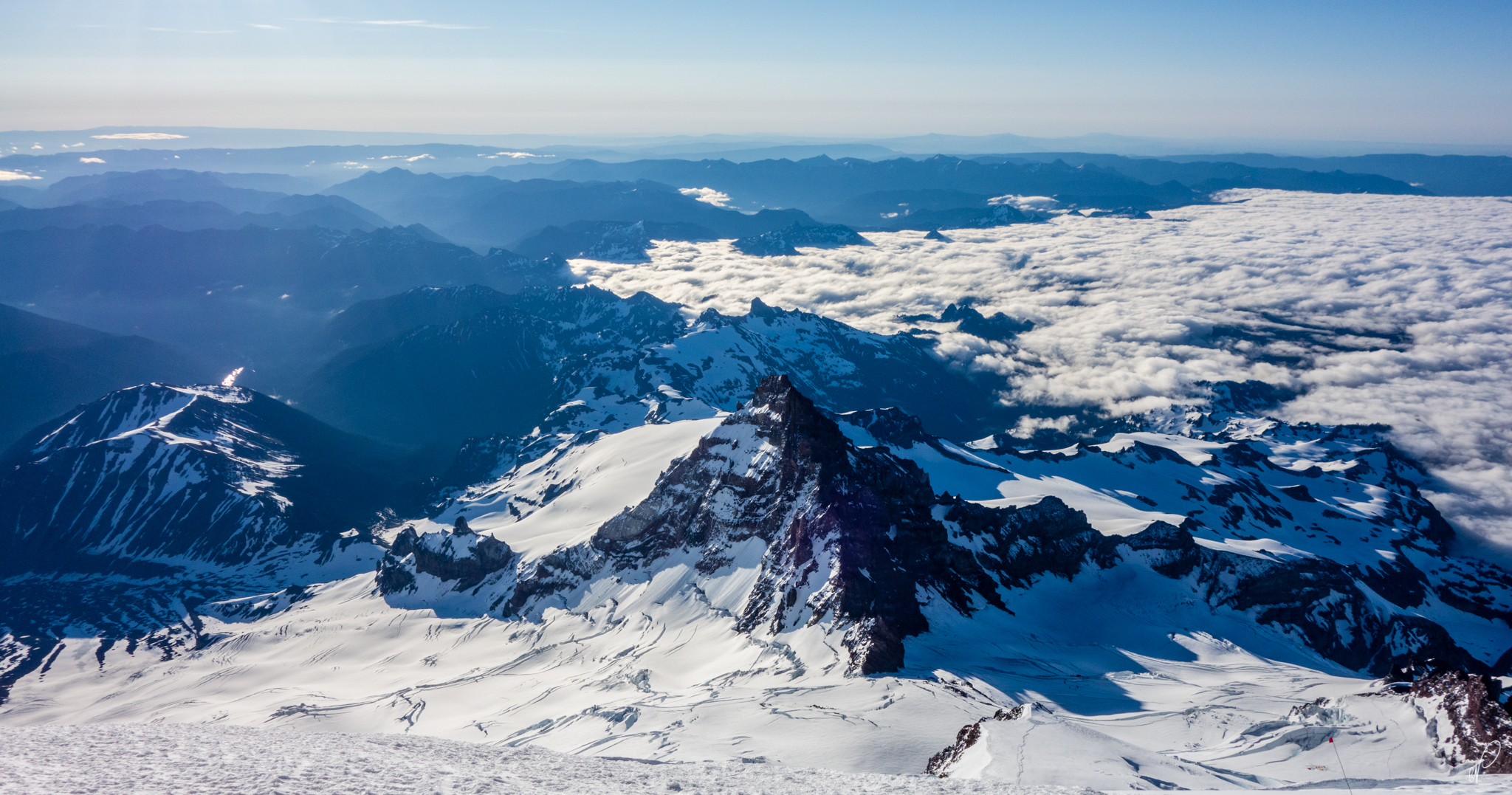 The view from high break. Rainier is also known as Big Tahoma. The peak in the middle of this photo is Little Tahoma