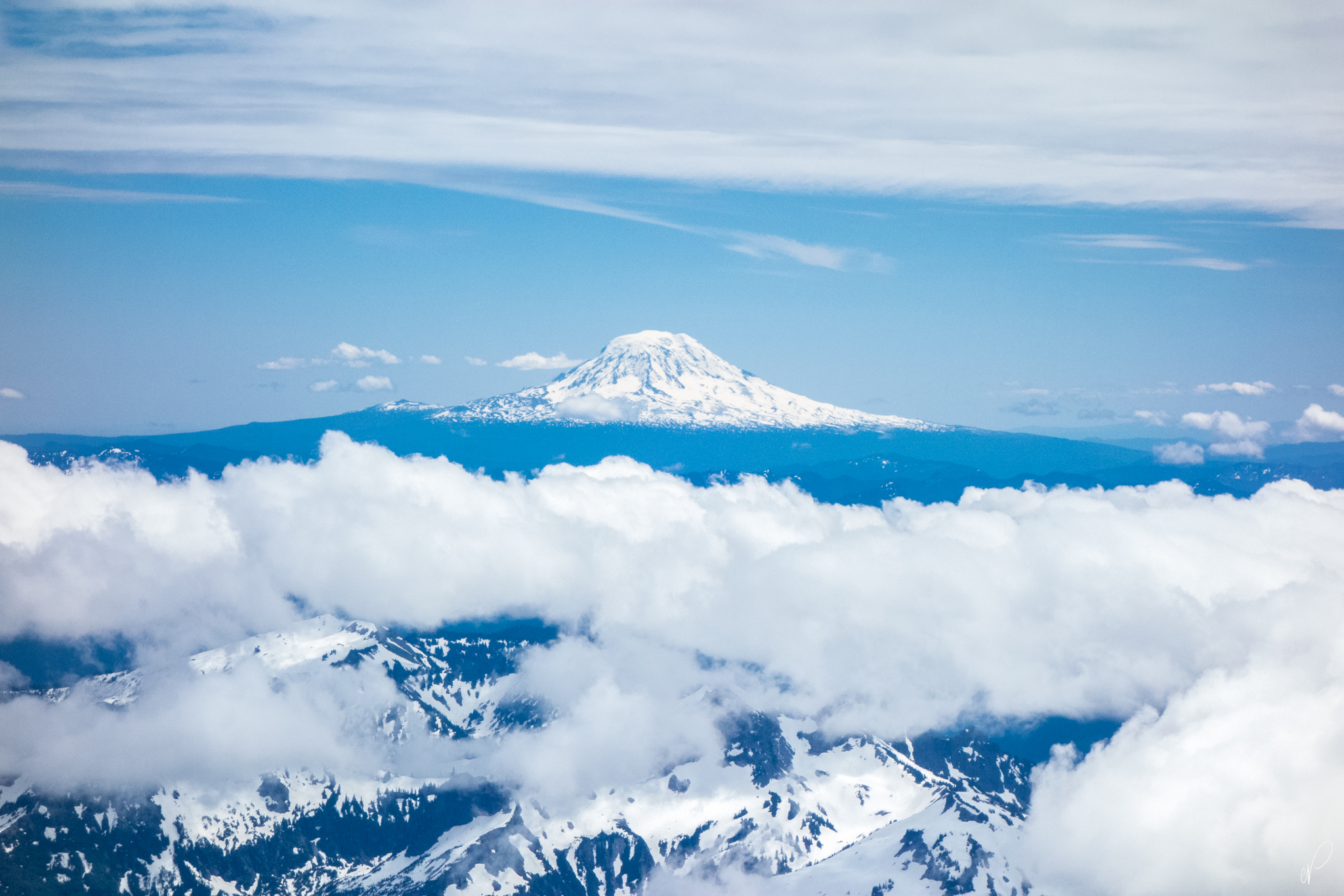 On the previous day, we barely got a view from Camp Muir, but on the descent, Adams was clearly visible.
