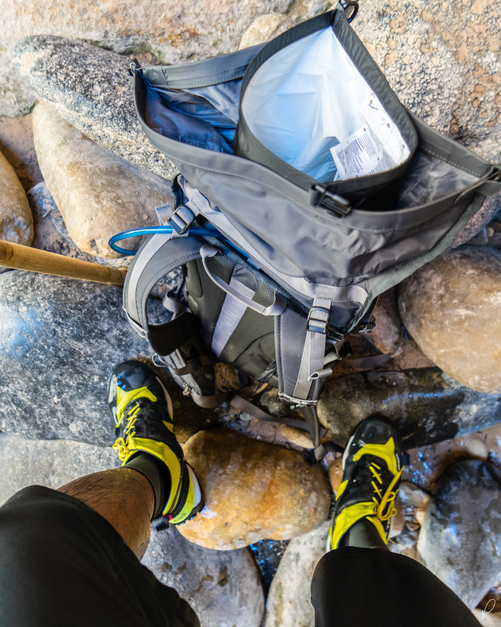 5.10 canyoneers, and double drybags for camera protection.