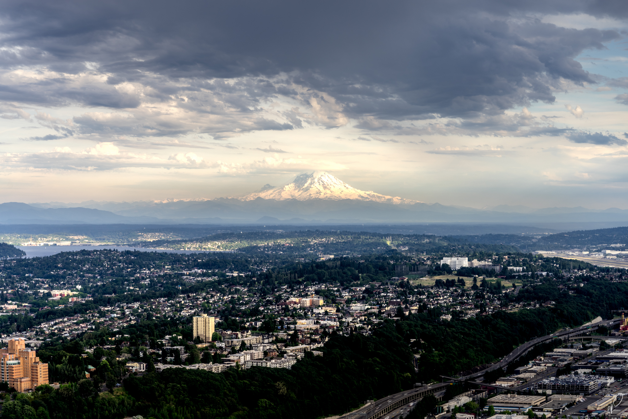 Mount Rainier, Big Tahoma, or Tacoma  as seen from Columbia Center, Downtown Seattle. This was the first photo I took of the mountain with a Lentincular cloud over it, which usually means a storm is incoming.