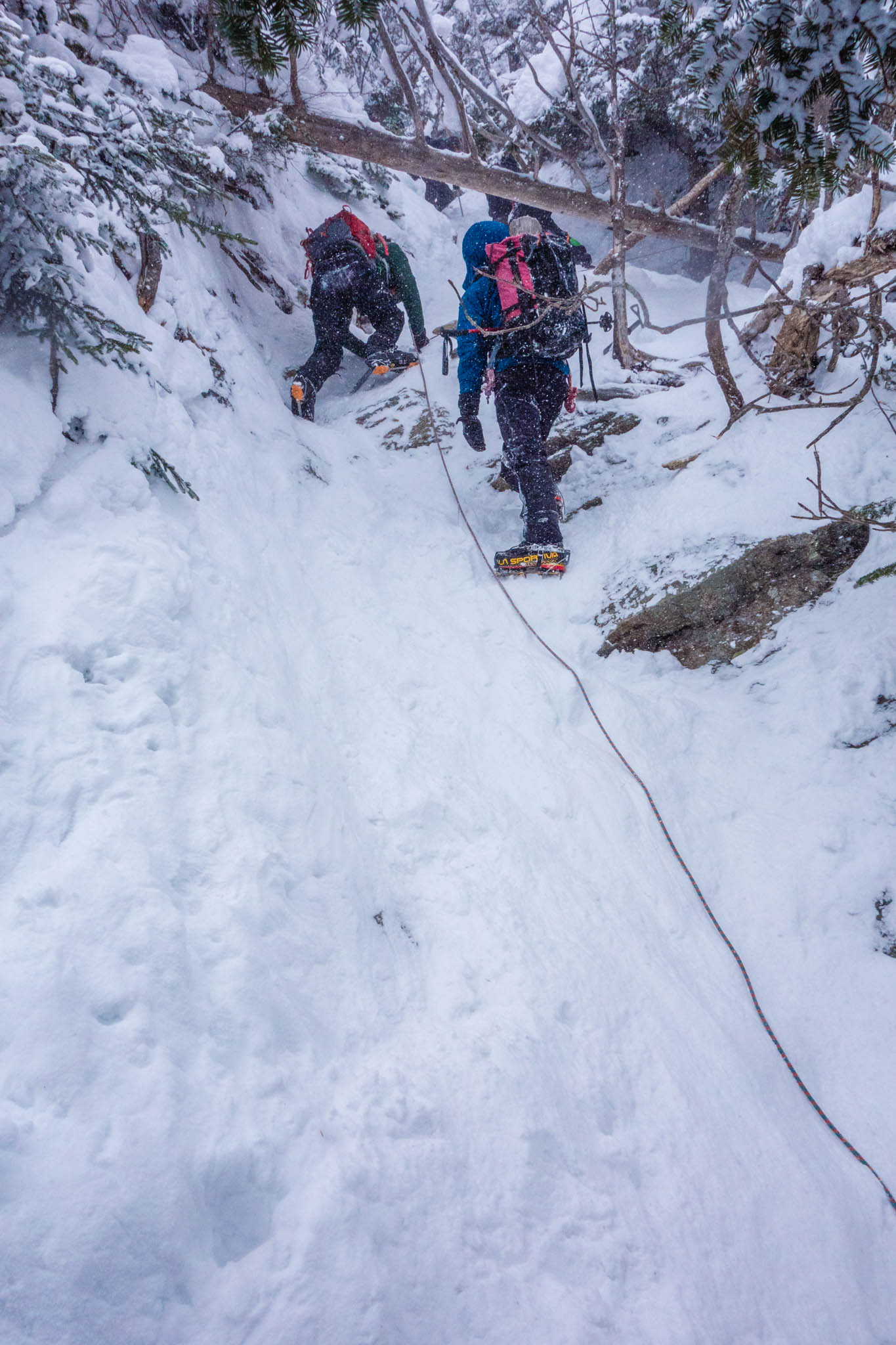Descending the steepest section