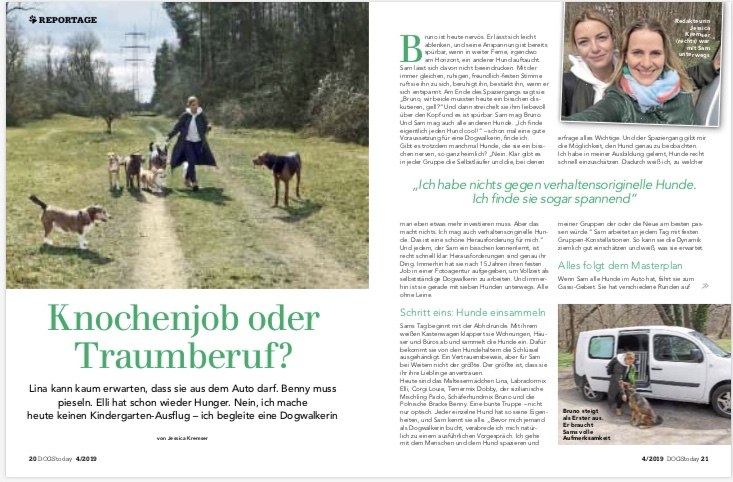 FOLLOW SAM in der DOGSToday - Ausgabe 04/2019