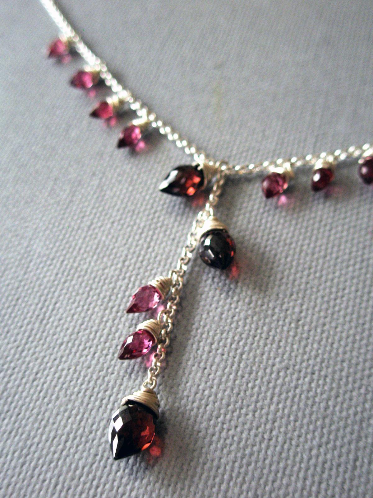 Budding Roses 2007  Necklace & Earrings  Garnet, Sterling Silver