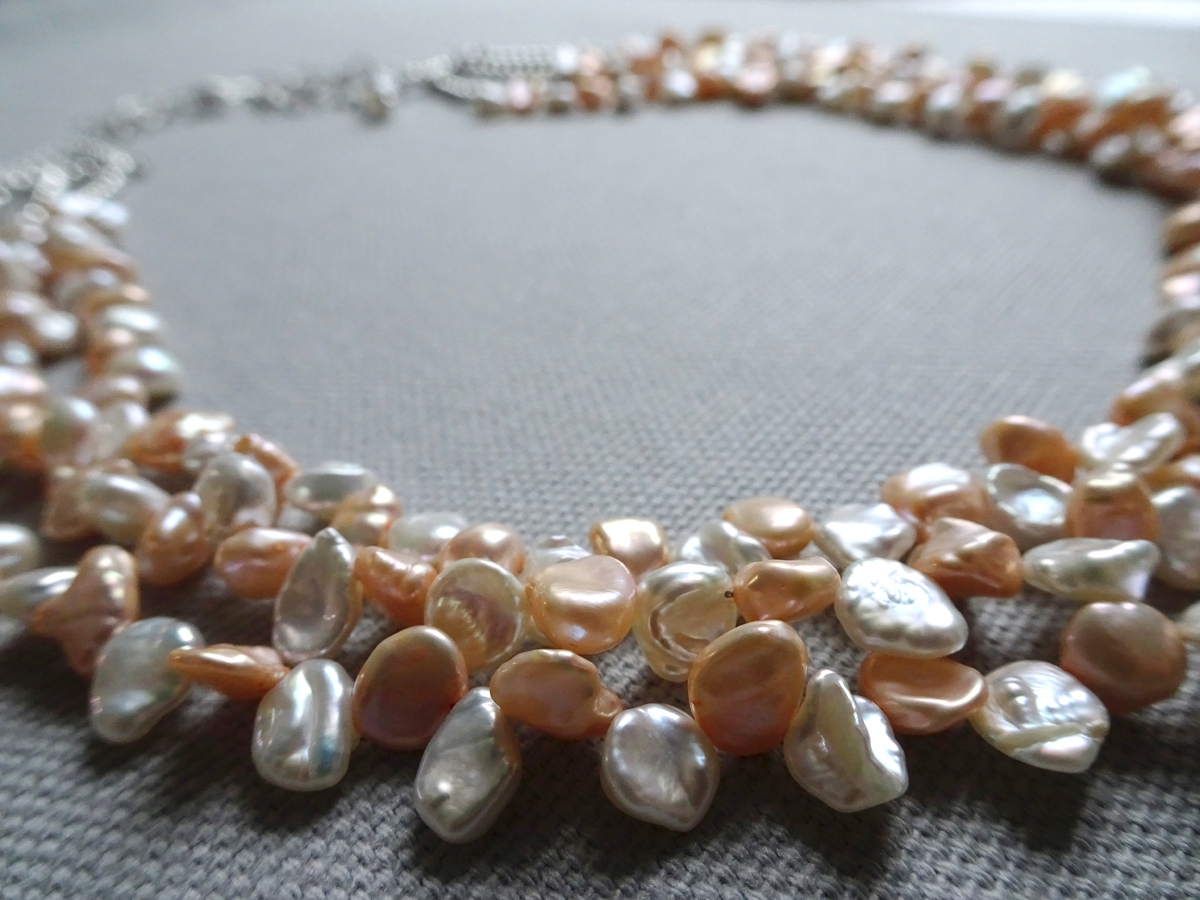 Peach Blossom 2004  Necklace & Earrings  Freshwater Keishi Pearl, Sterling Silver