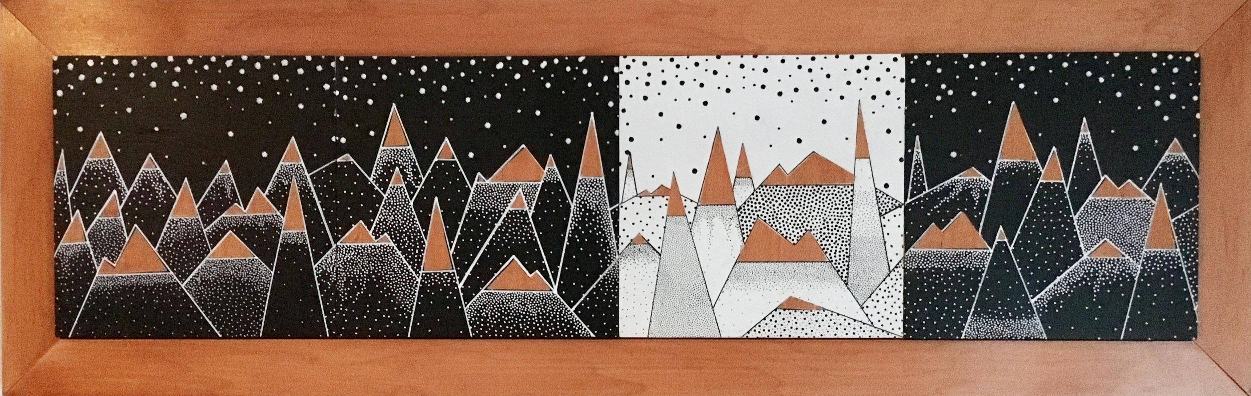 "Snowy Mountains Series 2015   27"" x 8.5"" x 0.75""  Acrylic and Veneer on Wood"