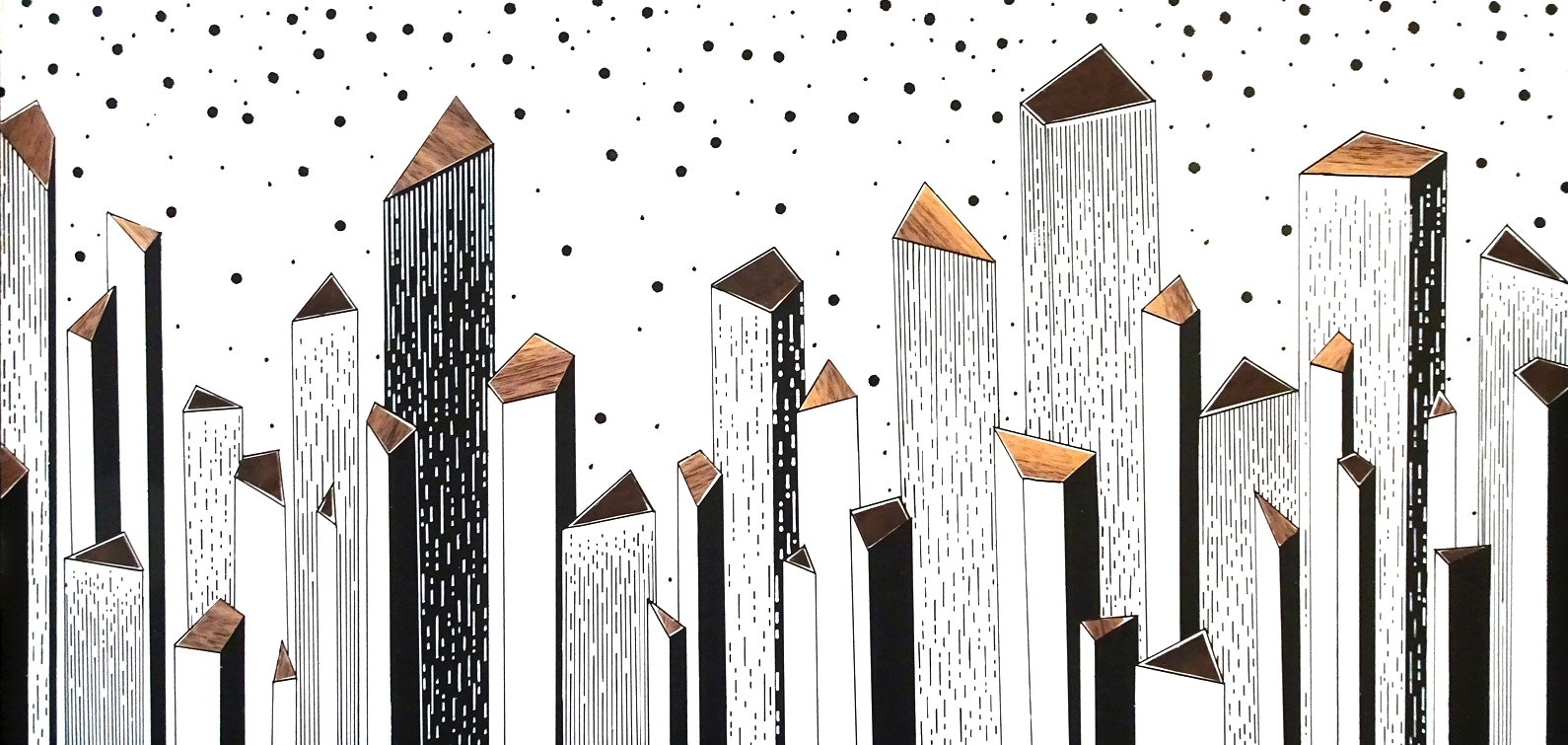 "Skyline-Day Series 2015   20"" x 10.75"" x 1.75""  Acrylic and Veneer on Wood"