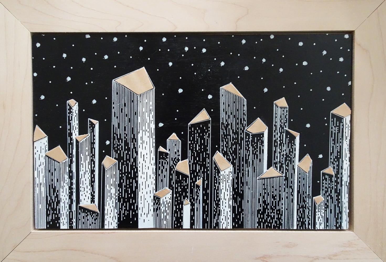 "Skyline-Night Series 2015   14.375"" x 10"" x 0.75""  Acrylic and Veneer on Wood"