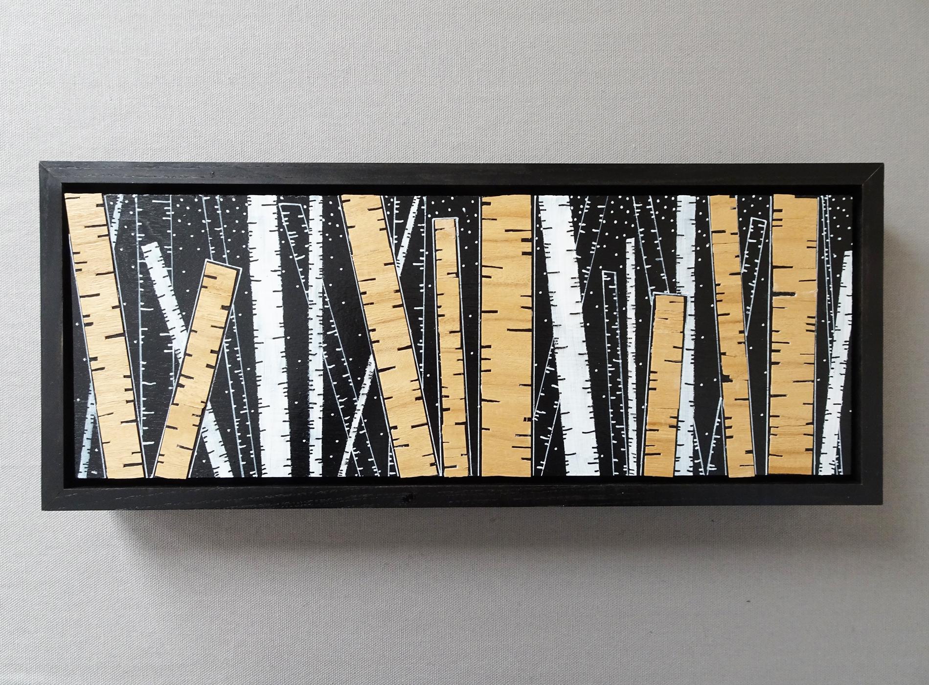 "Birch Trees Series 2017   15"" x 6.25"" x 1.5""  Acrylic and Veneer on Wood"