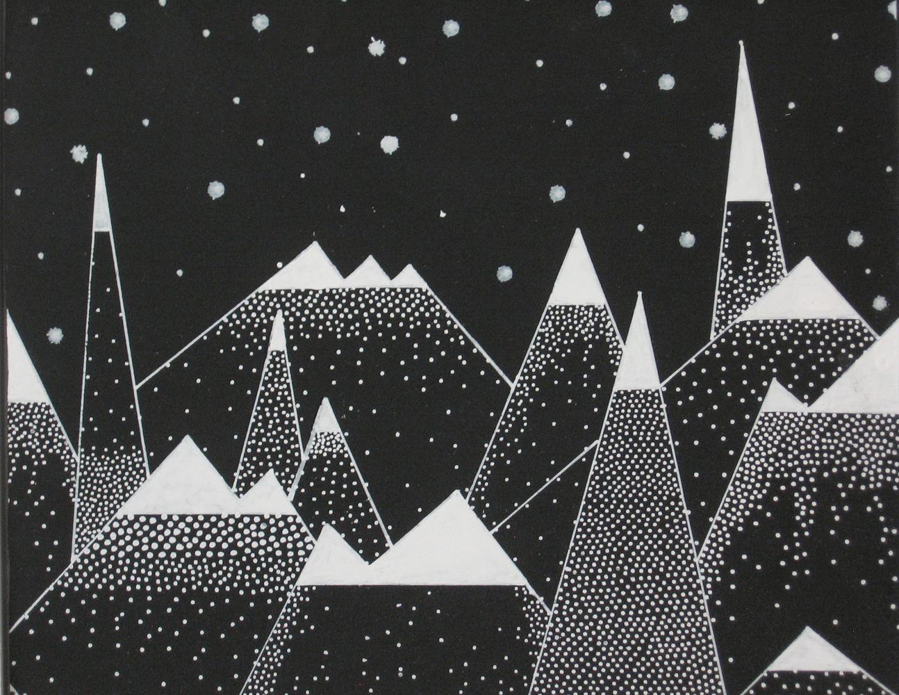 "Snowy Mountains Series 2015   10"" x 10"" x 0.75""  Acrylic on Wood"