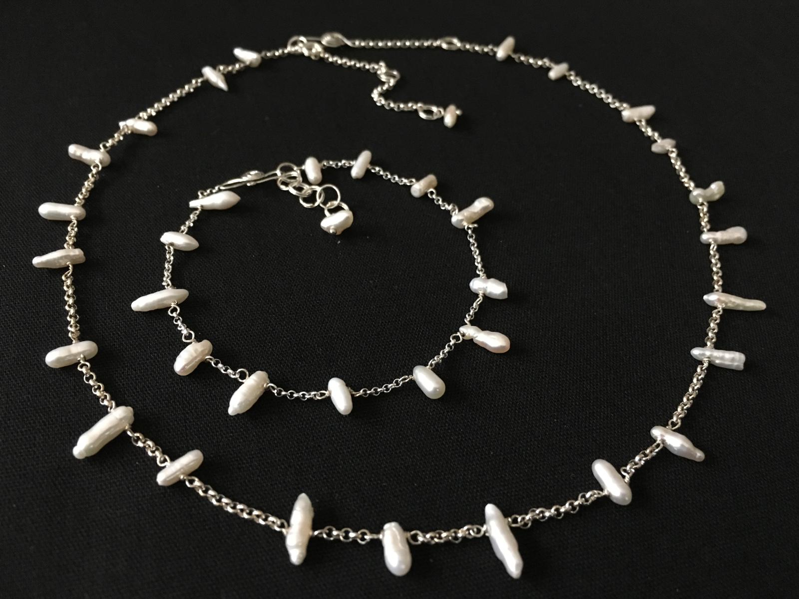 Picket Fence 2018  Necklace, Bracelet & Earrings  Freshwater Pearl, Sterling Silver