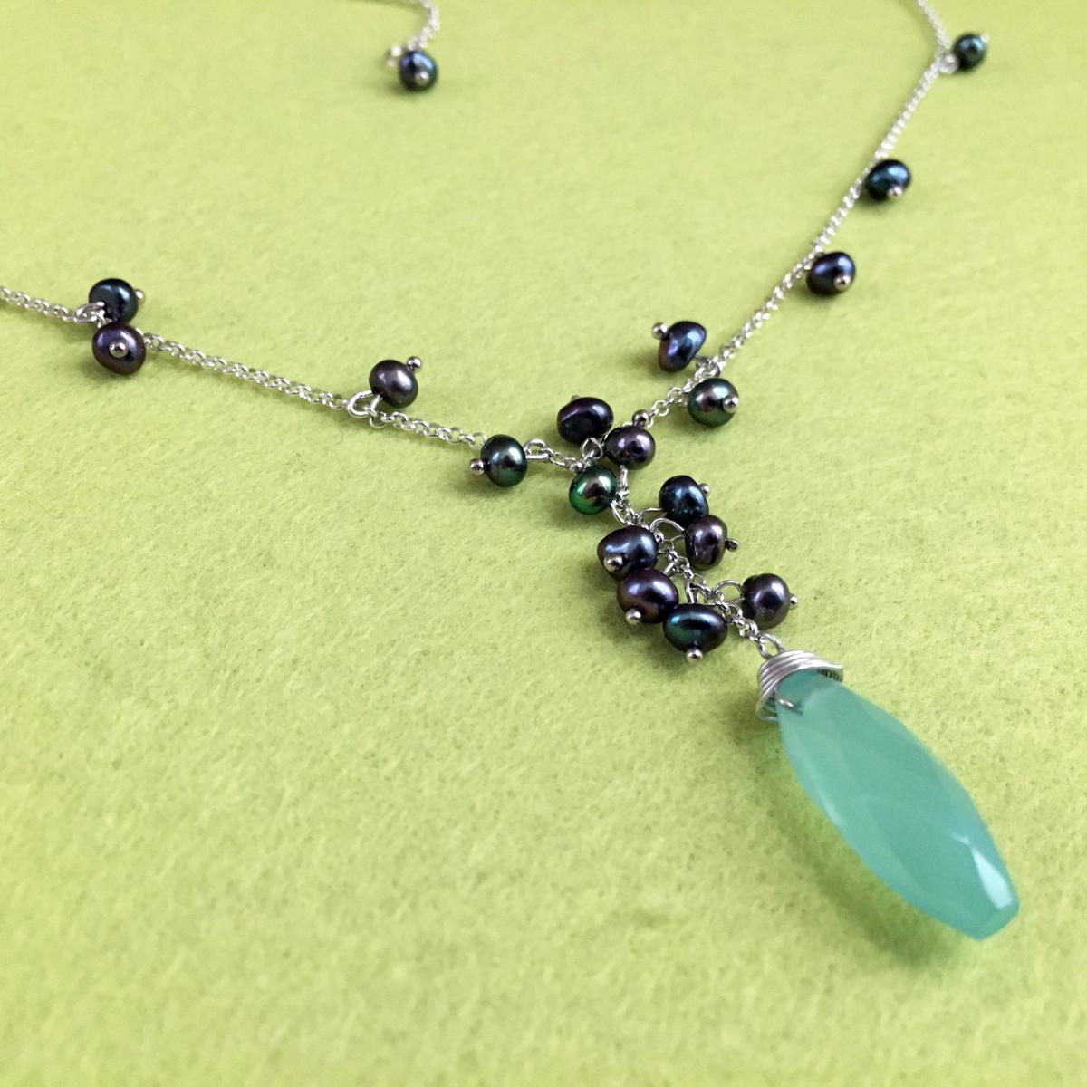 Ocean Breeze 2006  Necklace & Earrings  Chalcedony, Freshwater Pearl, Sterling Silver