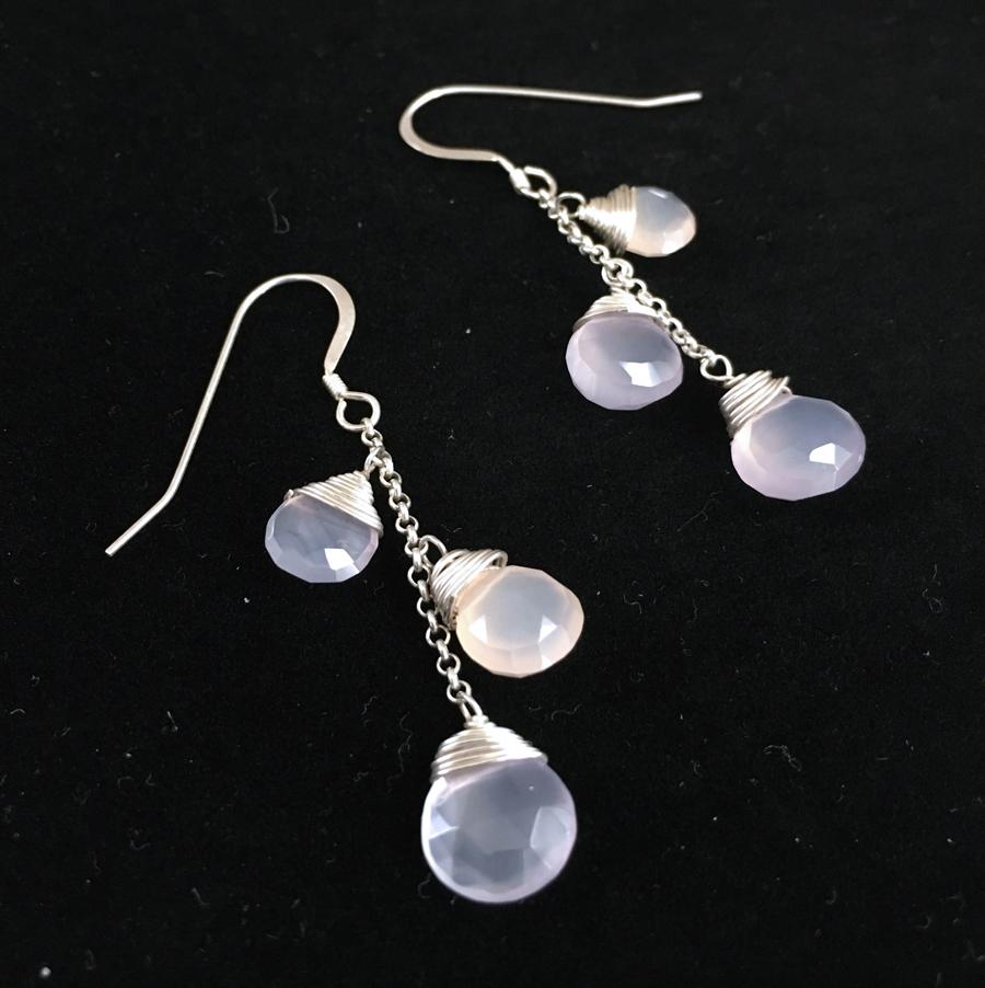Bleeding Hearts 2005  Earrings  Chalcedony, Sterling Silver