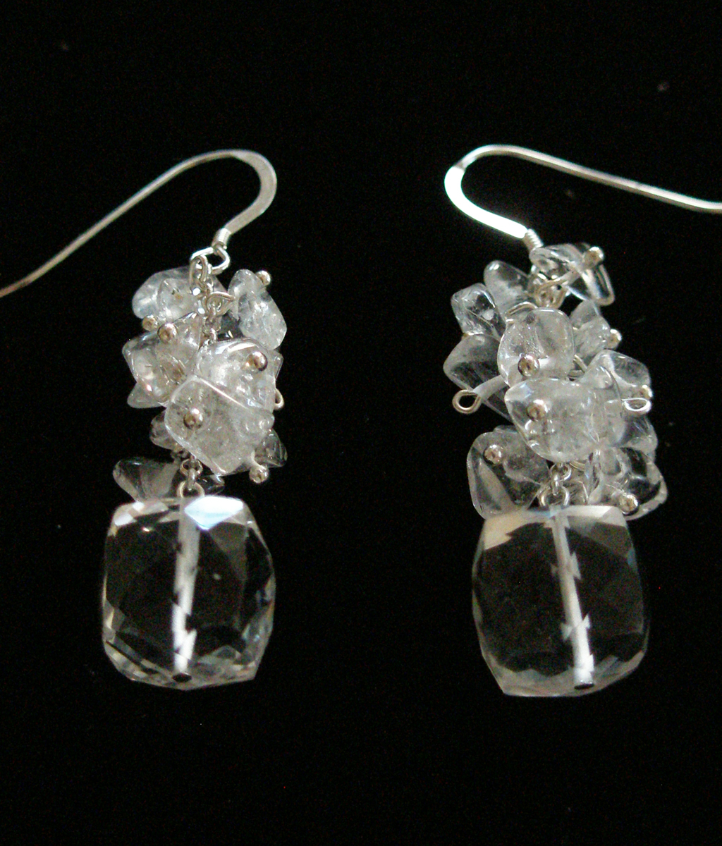 Quartz, Sterling Silver Hyacinth in a Pot Necklace /& Earrings Set