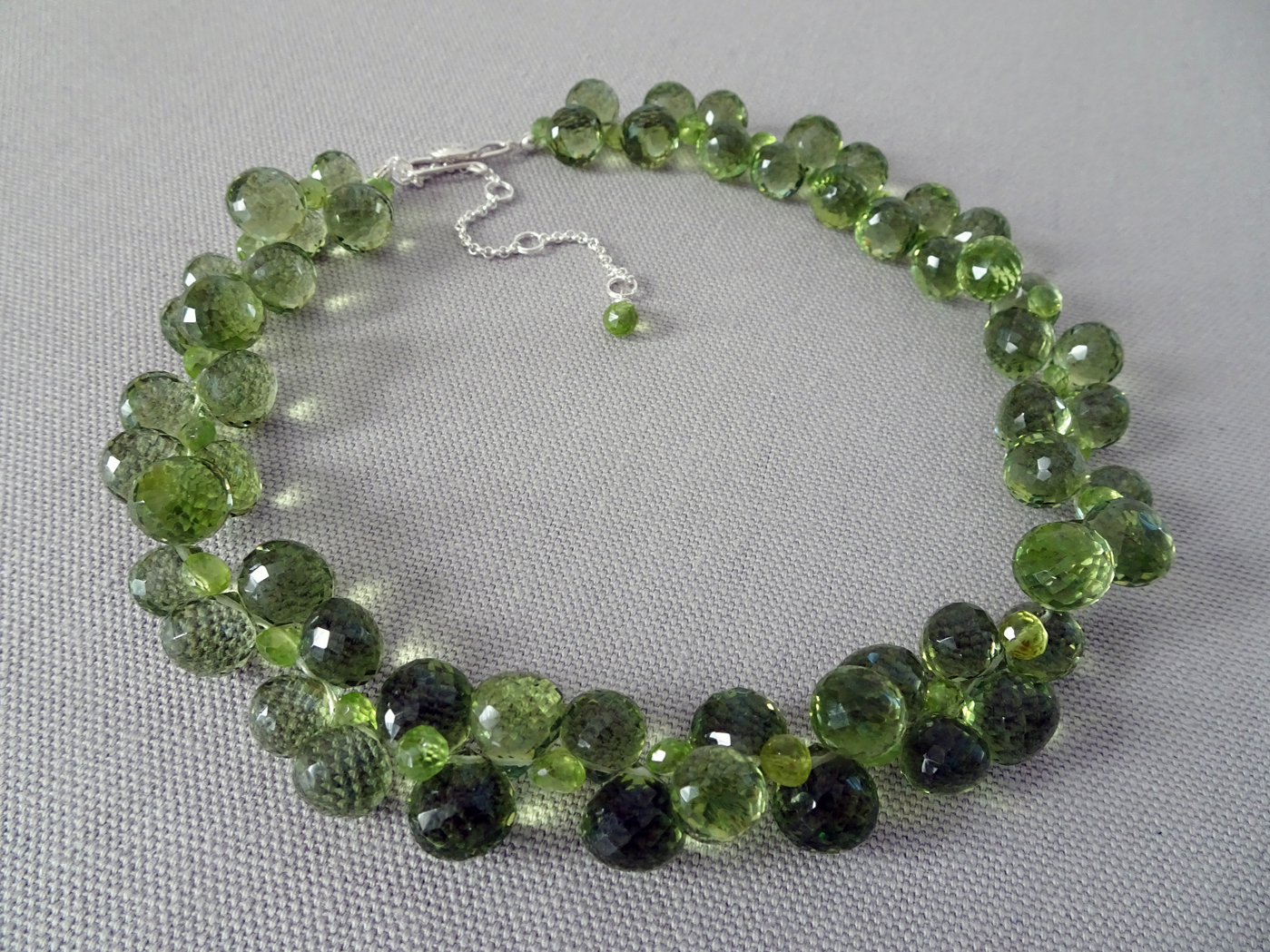 Green Olives   2019  Necklace & Earrings  Quartz, Peridot, Sterling Silver