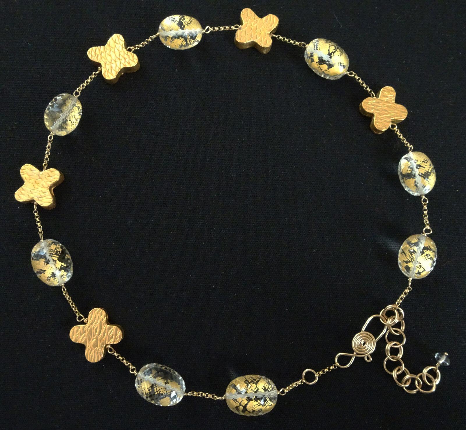 "XOXO in ""Golden Globes"" Series   2019  Necklace  Gold Foil-Embedded Quartz, Vermeil/Gold-Filled Fine Silver"