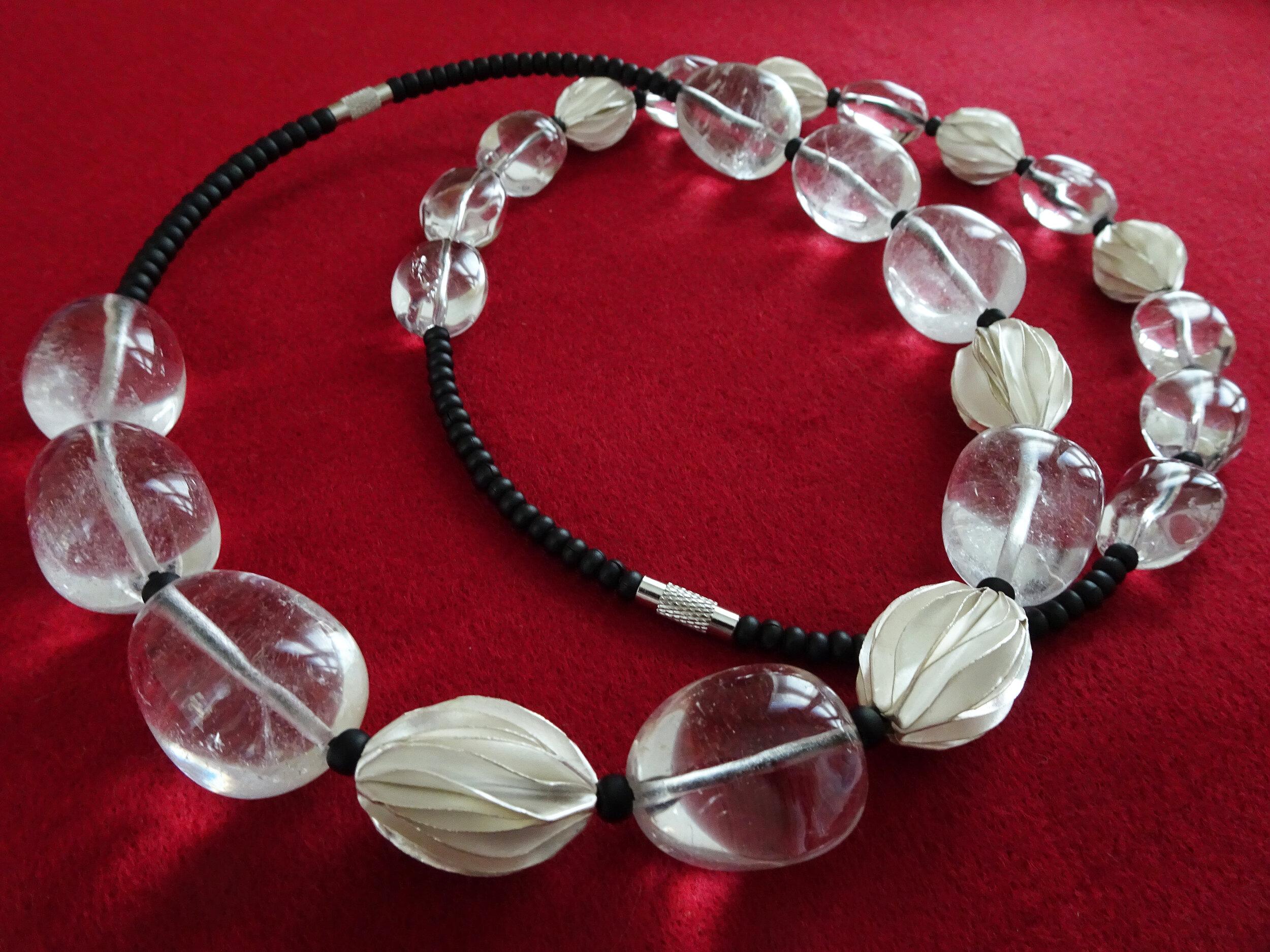 Pale in Comparison 2019  Necklace  Quartz, Glass, Sterling Silver