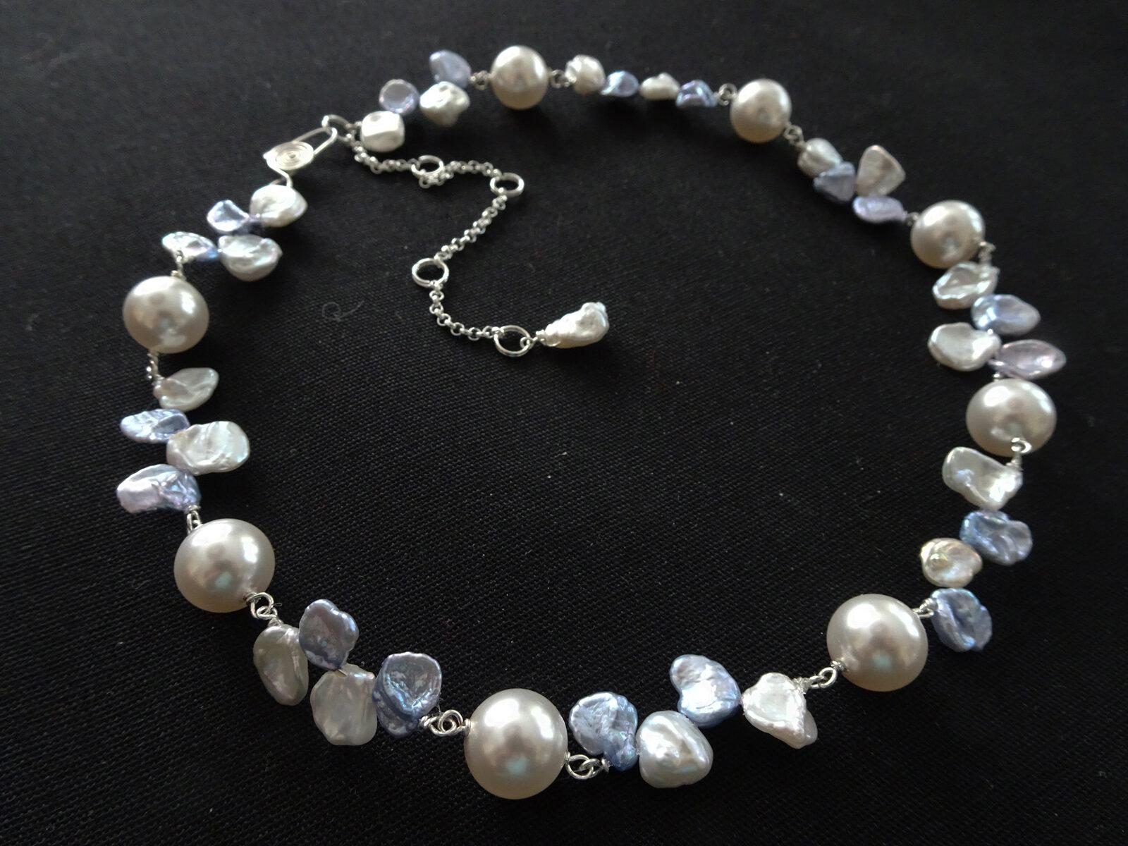 Sea Shell 2019  Necklace & Earrings  Keishi Pearl, Swarovski Pearl, Sterling Silver