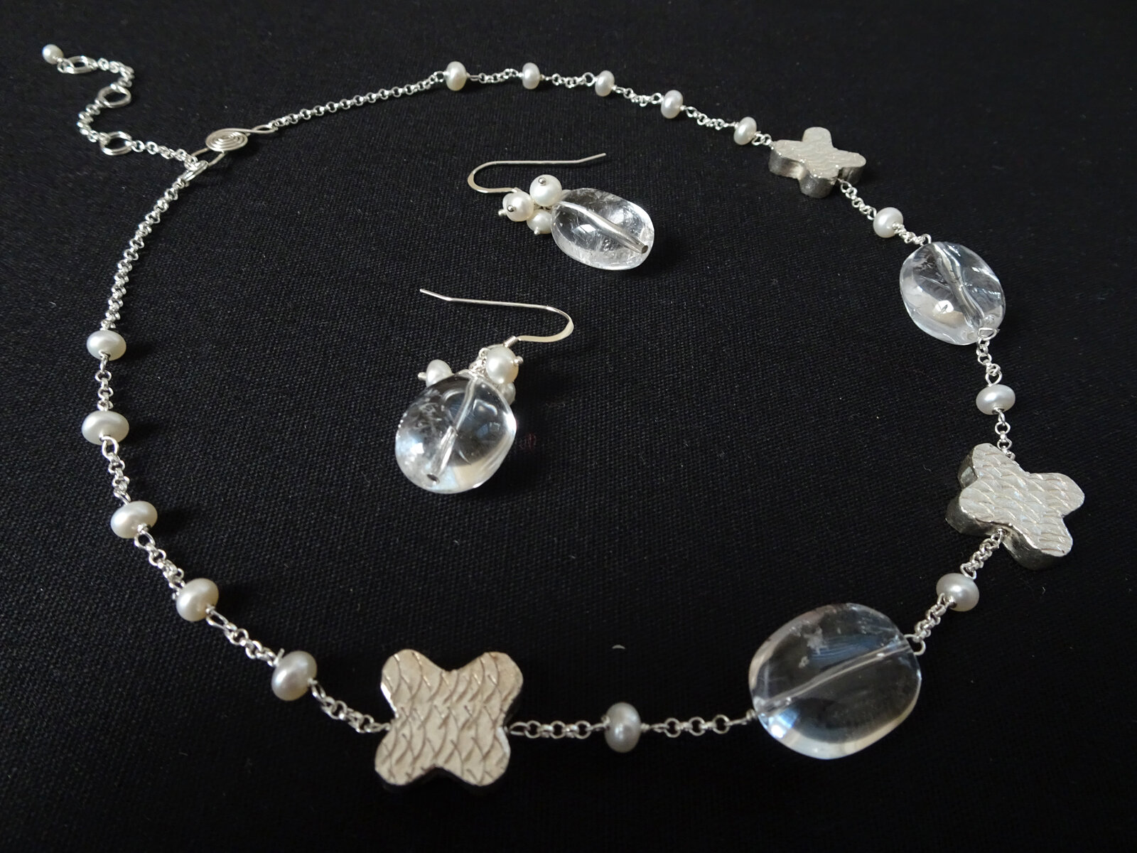 """XOXO in """"Crystal Clear"""" Series 2019  Necklace & Earrings  Pearl, Rock Crystal, Sterling Silver"""