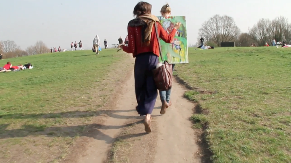 Taking a painting for a walk   Still frame from video/performance  2012  London