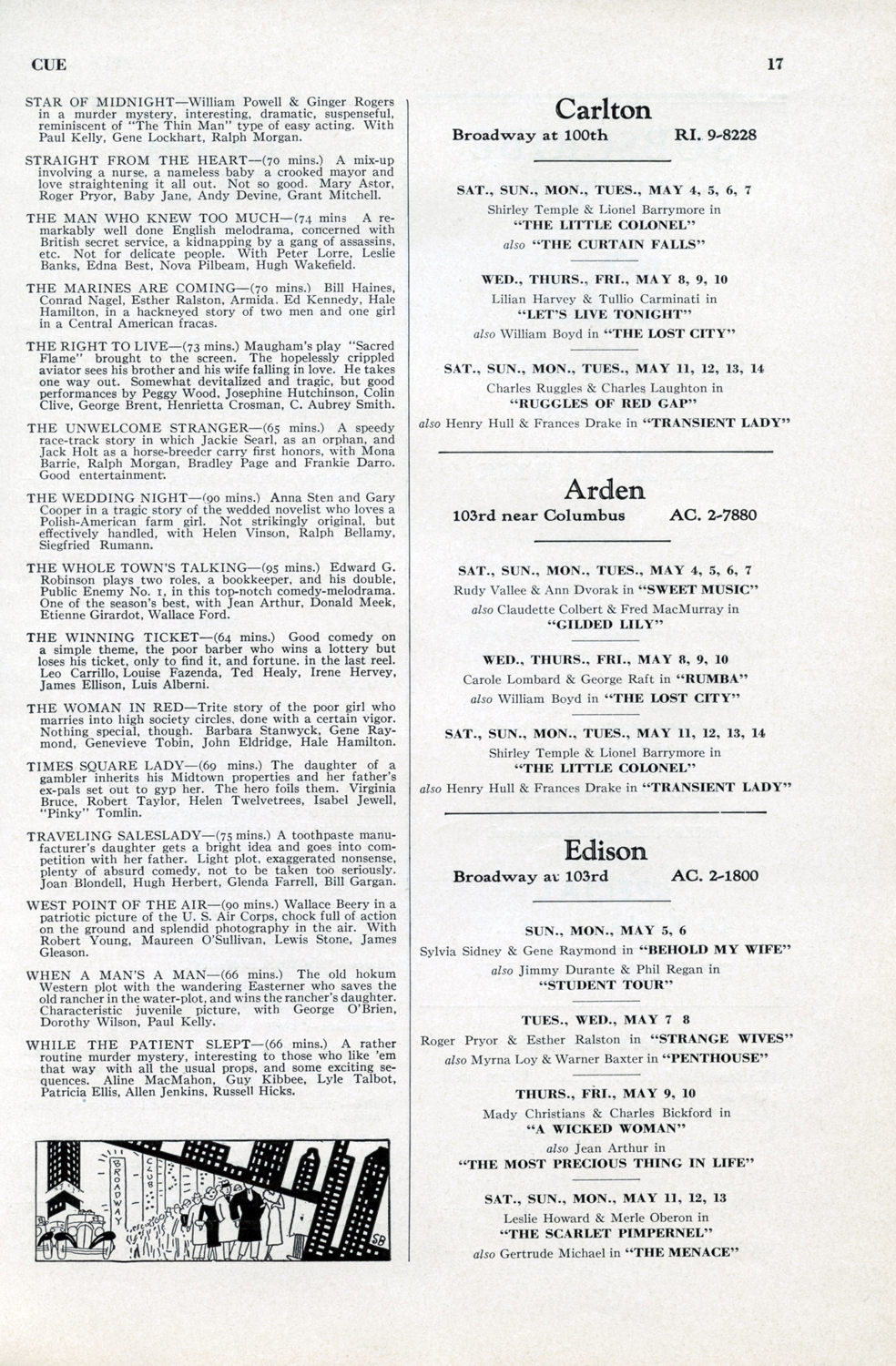 May 4, 1935, Pg. 16 INSIDE  CUE : Movie Listings and Minute Critiques