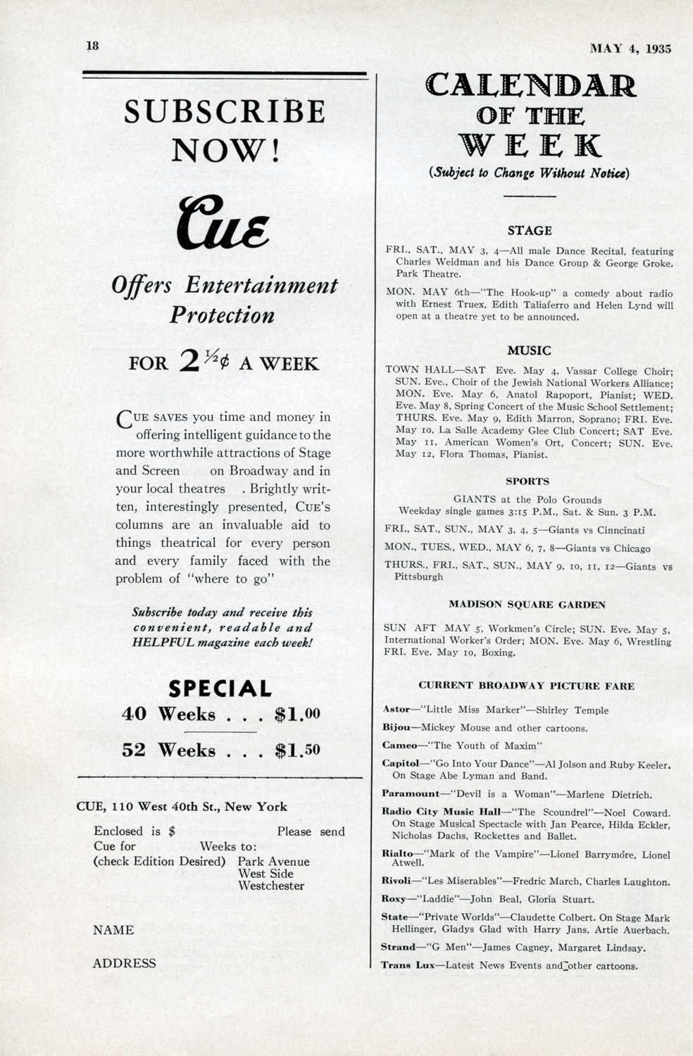 May 4, 1935, Pg. 18 INSIDE  CUE : Stage / Music / Sports CALENDAR OF THE WEEK