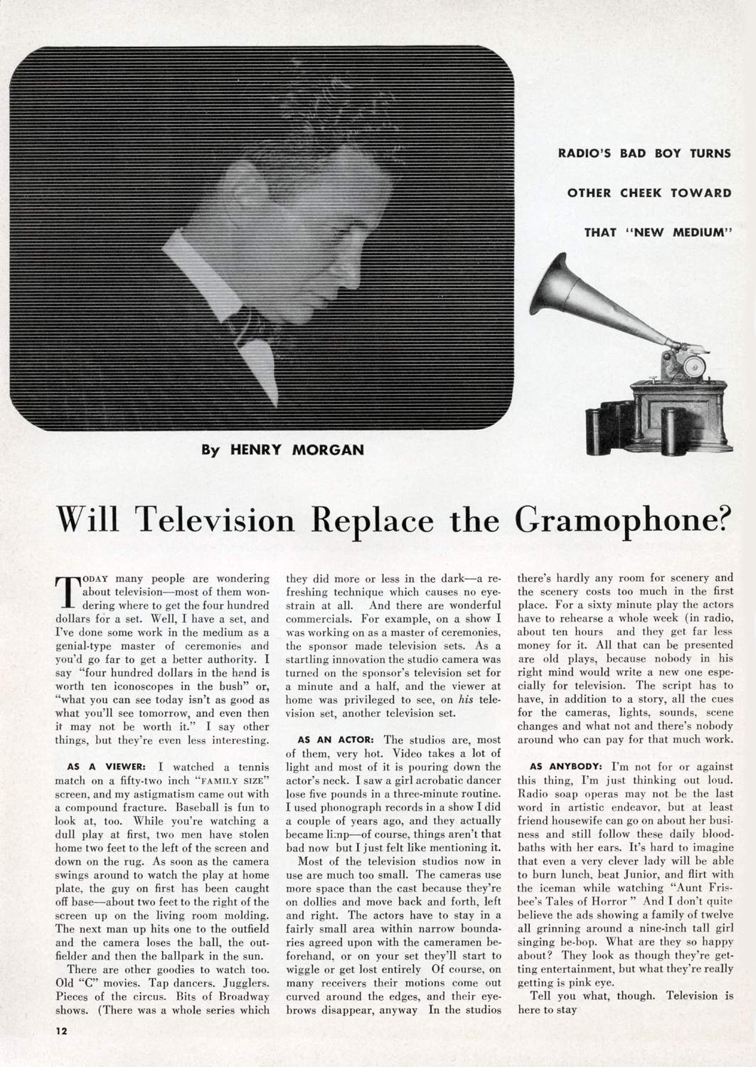 July 17, 1948 INSIDE  CUE : Will Television Replace the Gramophone?