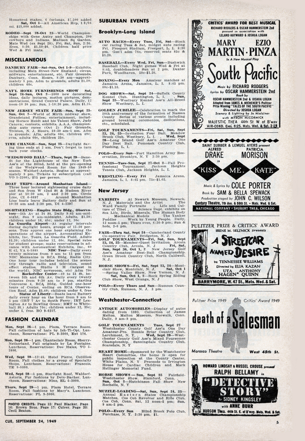 September 24, 1949 Pg. 5 INSIDE  CUE : Miscellaneous Listings, Fashion Calendar, Suburban Events: Brooklyn-Long Island, New Jersey, Westchester-Connecticut