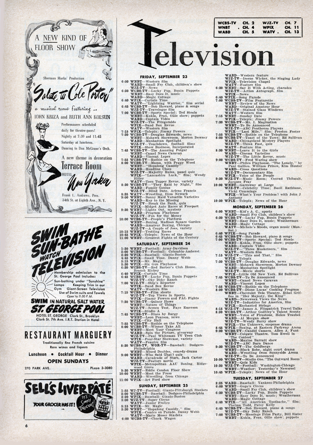September 24, 1949 Pg. 6 INSIDE  CUE : Television Listings