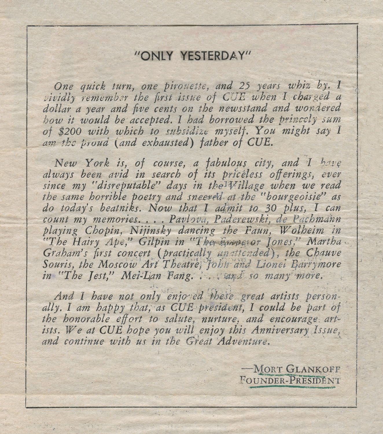 MORT GLANKOFF  CUE : 25 Year Anniversary Issue Personal Note, 1957
