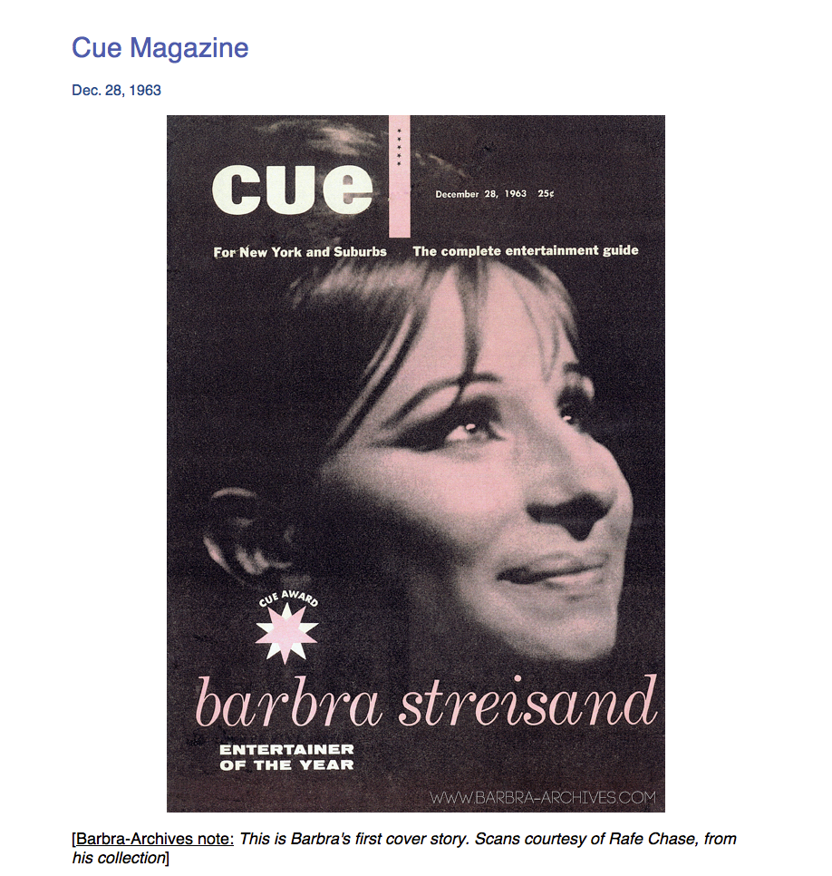 December 28, 1963  CUE Cover:  Barbra Streisand