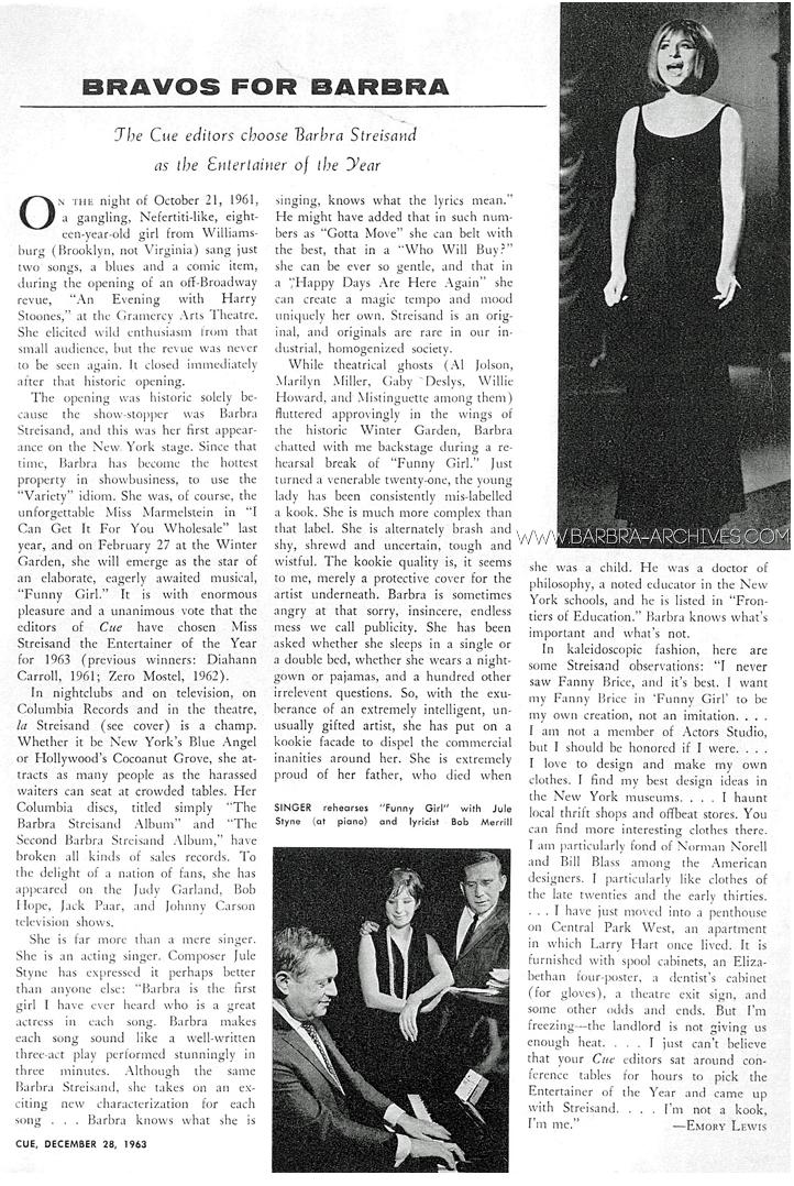 December 28, 1963  CUE: Bravos For Barbra