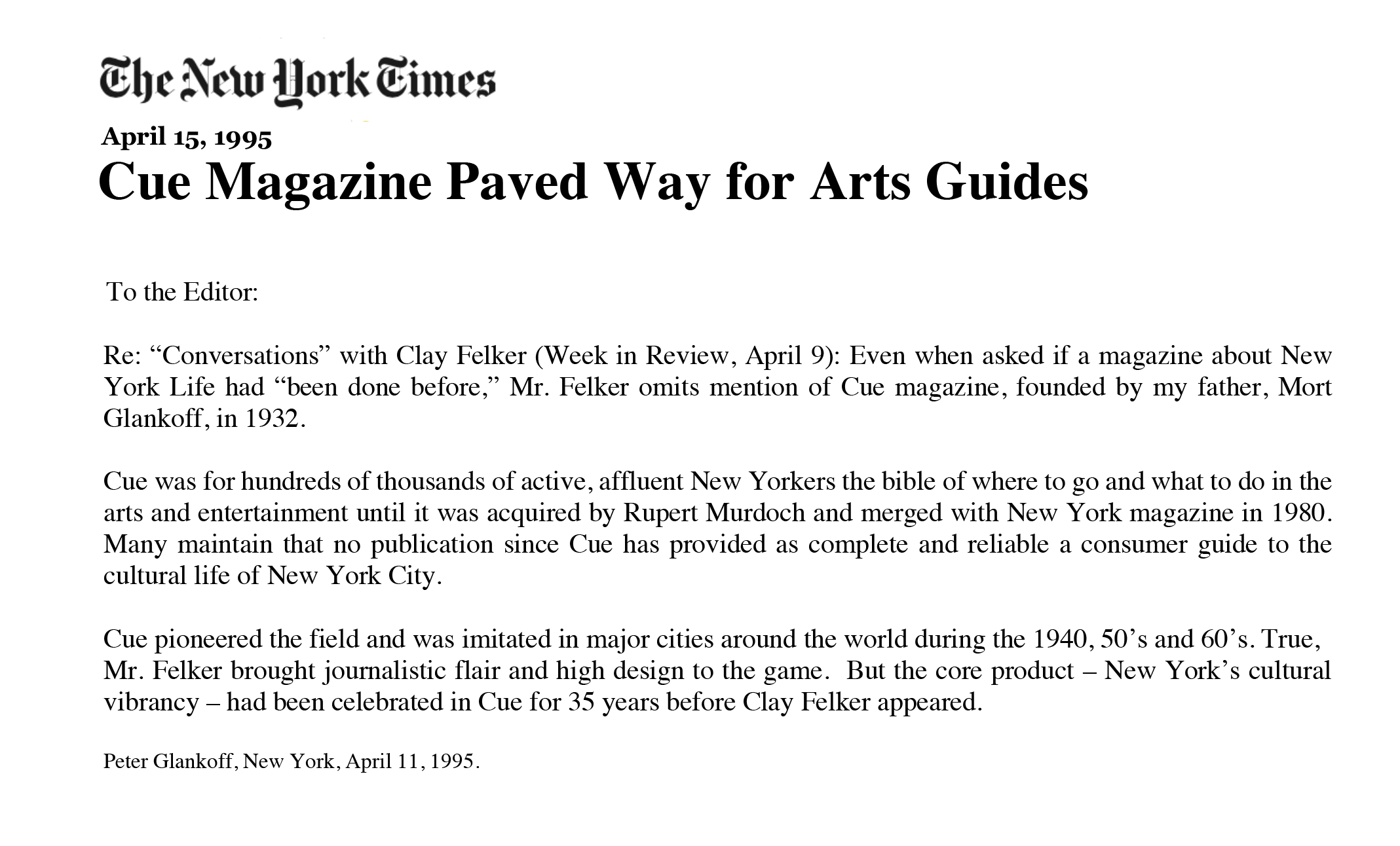 Mort Glankoff - CUE- NYTimes 1995.png